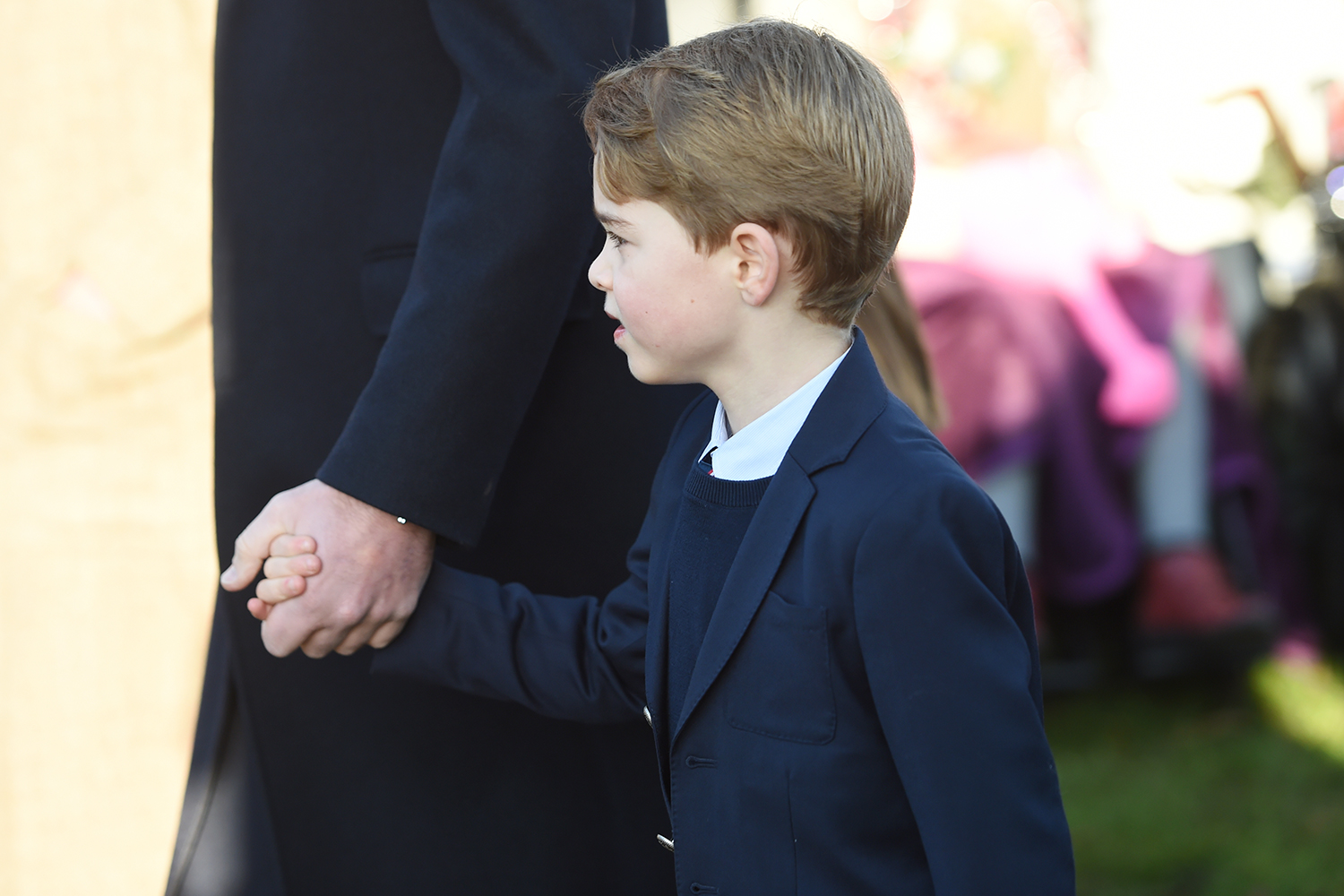 Prince George arriving to attend the Christmas Day morning church service at St Mary Magdalene Church in Sandringham, Norfolk. (Photo by Joe Giddens/PA Images via Getty Images)