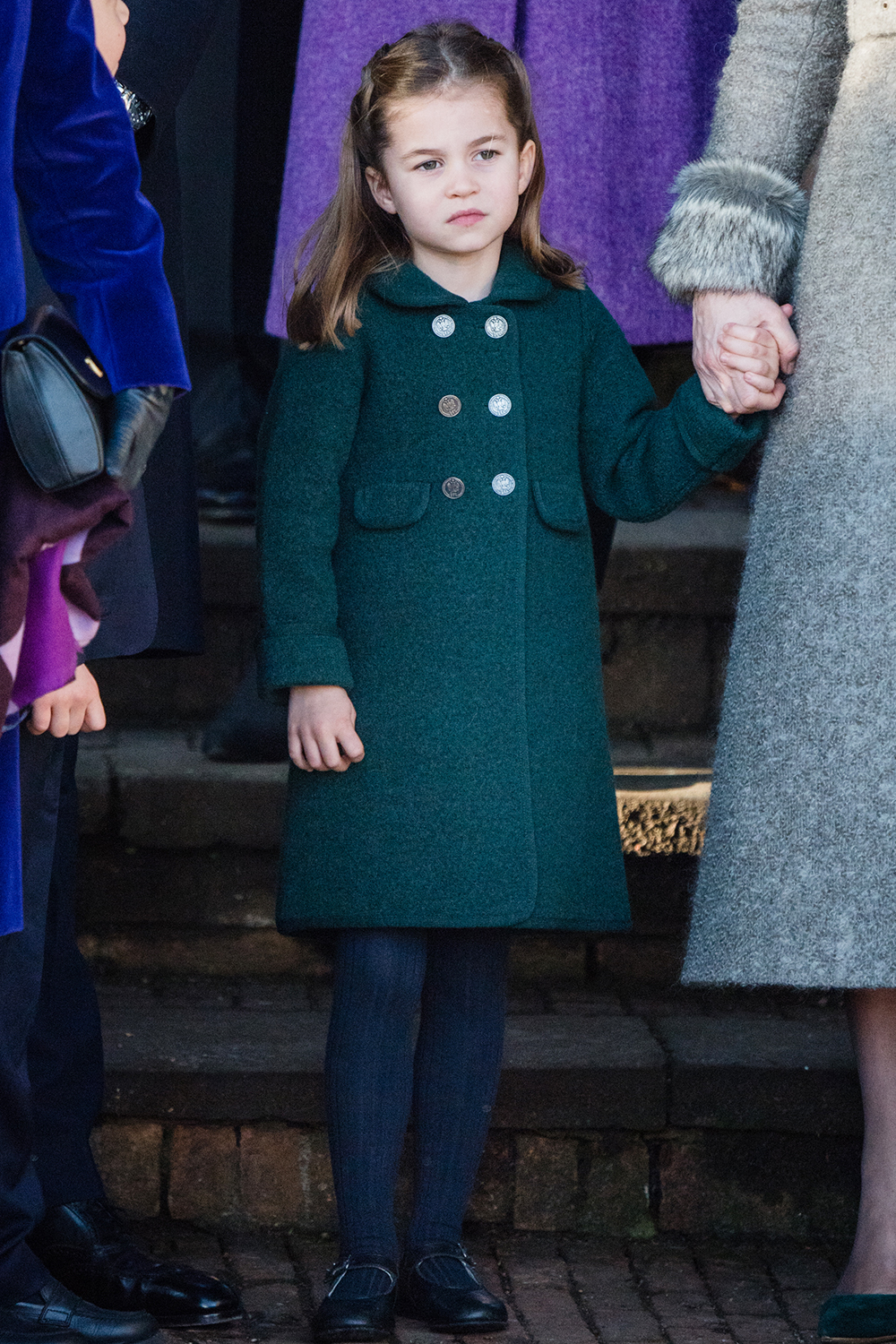 KING'S LYNN, ENGLAND - DECEMBER 25: Princess Charlotte attends the Christmas Day Church service at Church of St Mary Magdalene on the Sandringham estate on December 25, 2019 in King's Lynn, United Kingdom. (Photo by Pool/Samir Hussein/WireImage)