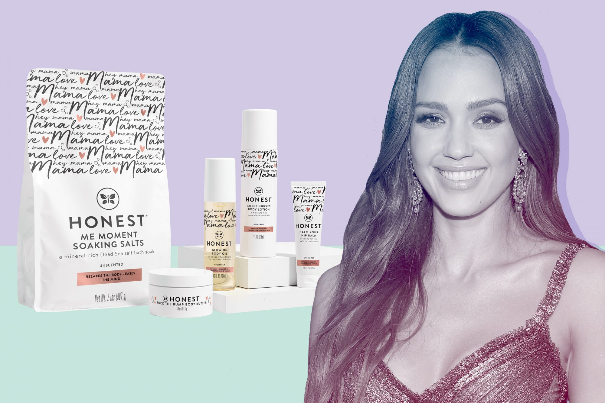 Jessica Alba in front of Honest company products