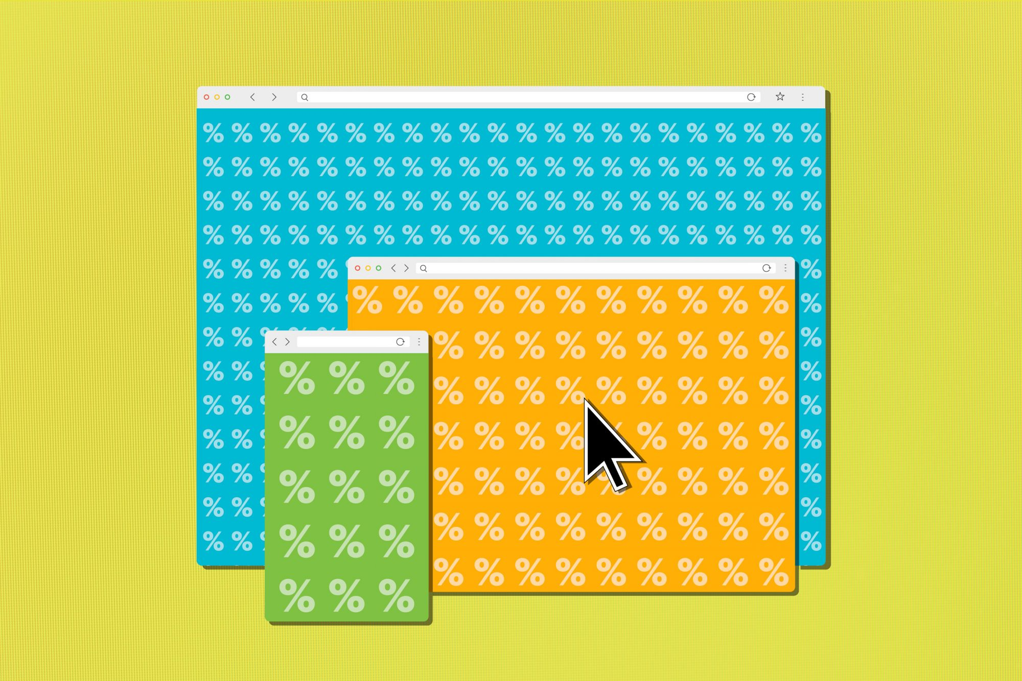 illustration of internet browser windows with % marks on them