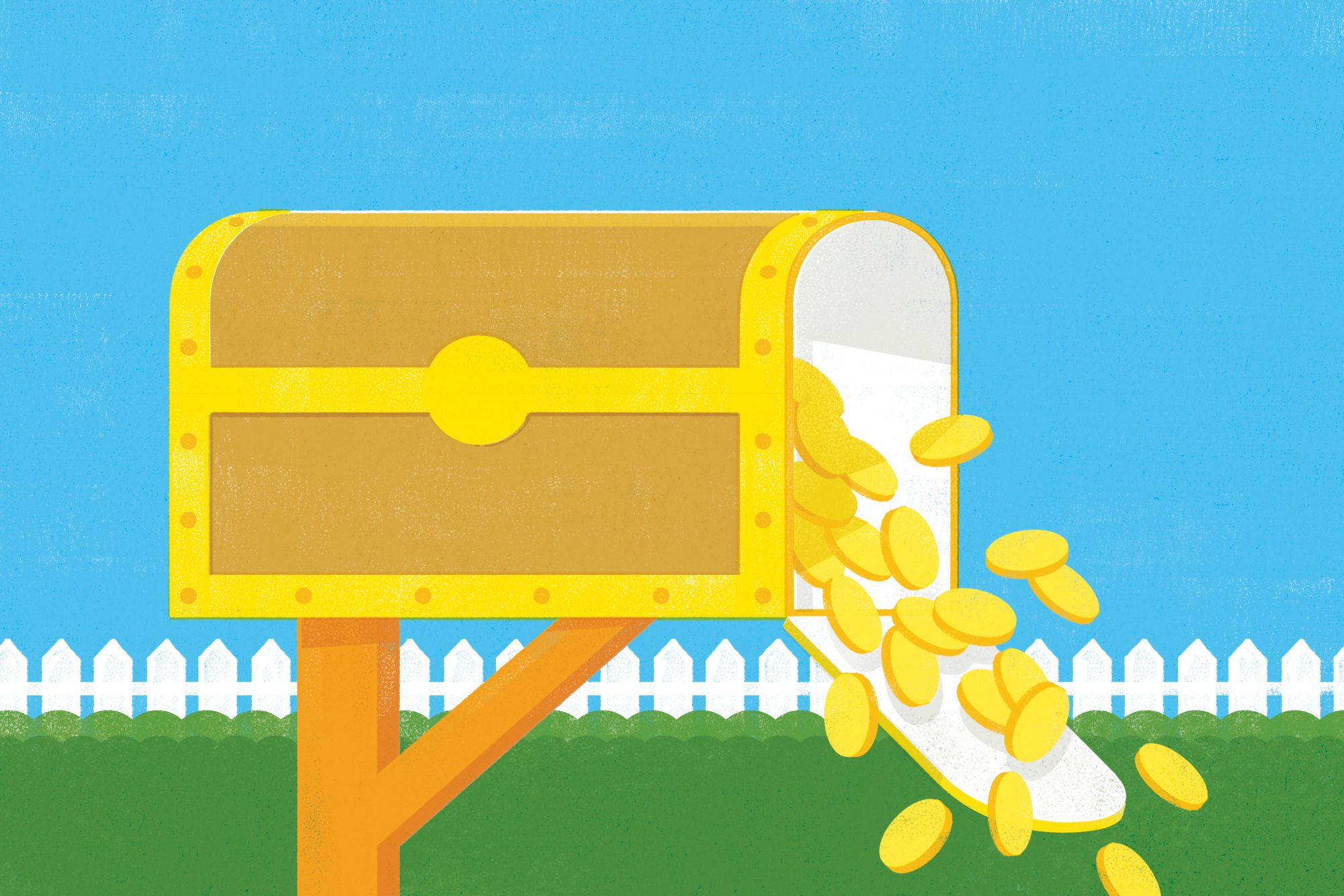 illustration of mailbox that is a treasure chest spilling out gold coins