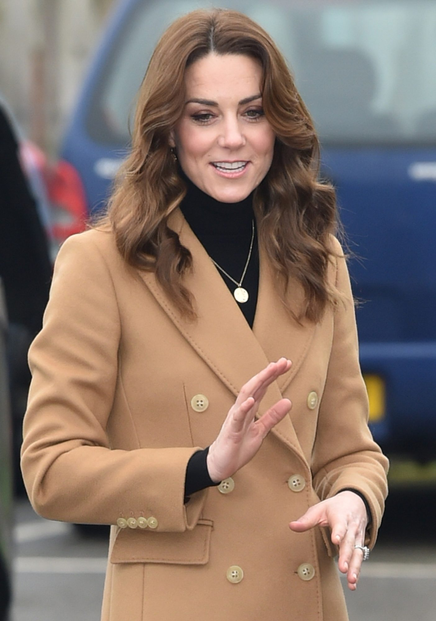 Kate Middleton Tan Pea Coat Waving