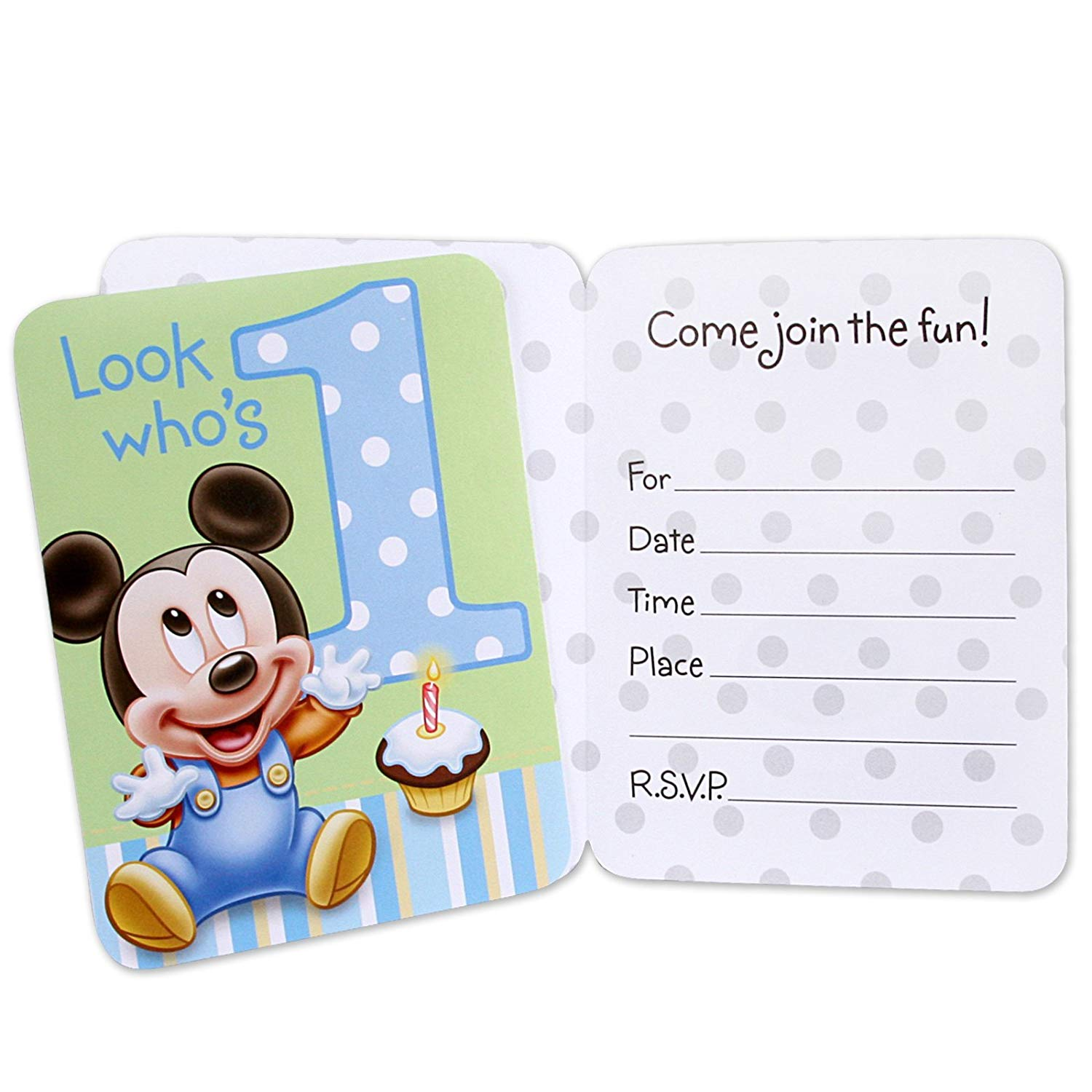 First Birthday Invitation for Boy with Mickey Mouse
