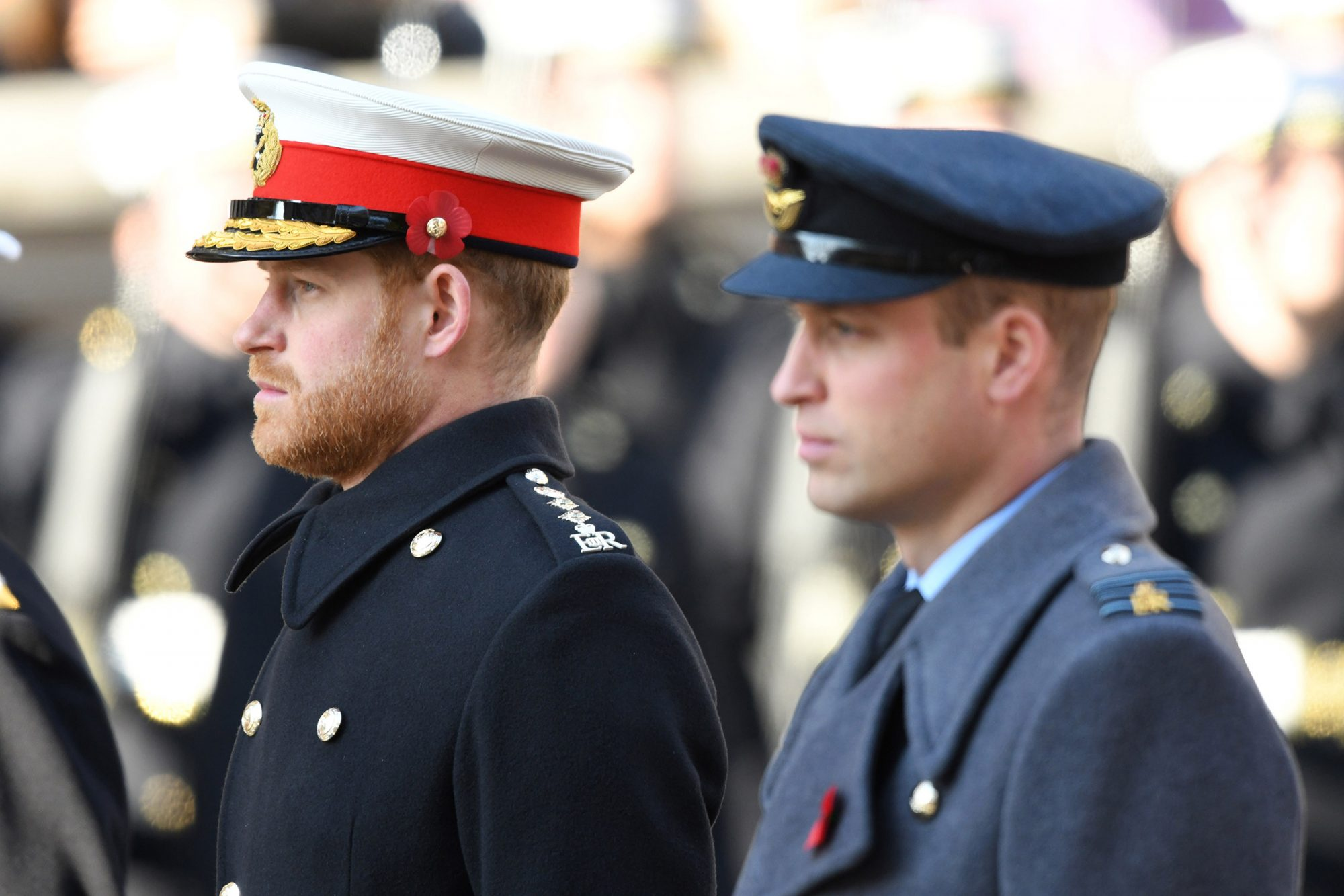Remembrance Sunday Cenotaph Service Prince Hary and Prince William