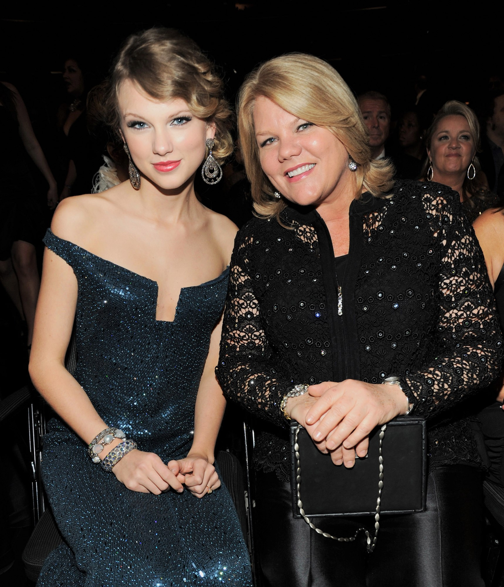Taylor Swift and her mother Andrea at the 52nd Annual GRAMMY Awards