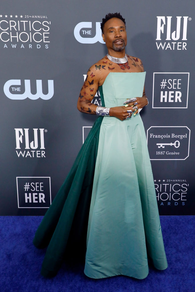 Billy Porter in Gown at the Critics' Choice Awards Carpet