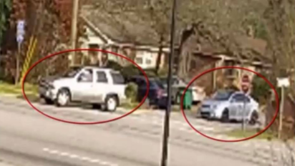 Police are trying to identify the silver sedan seen on the right in this photo