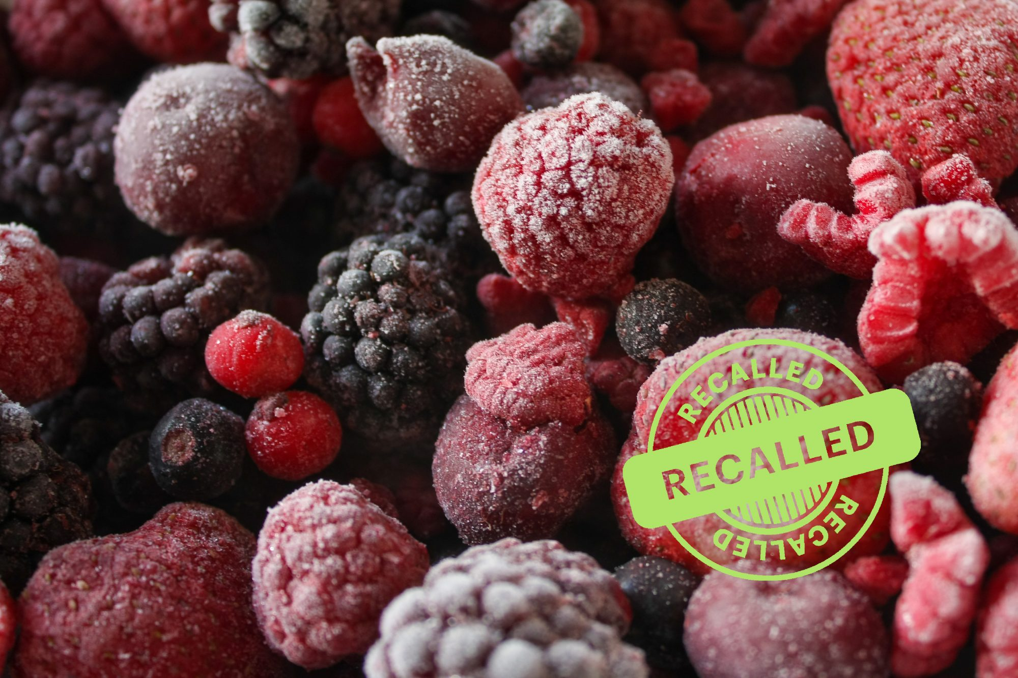mixed frozen berries with recalled stamp