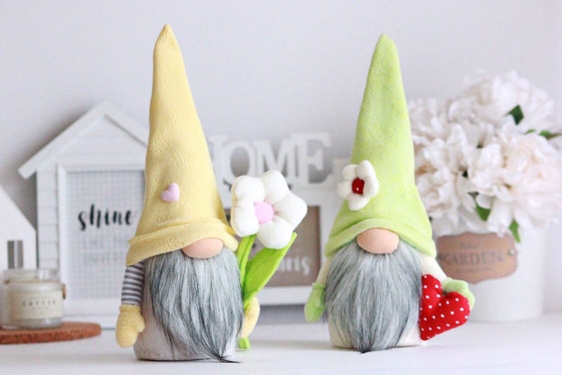 two plush Easter gnomes