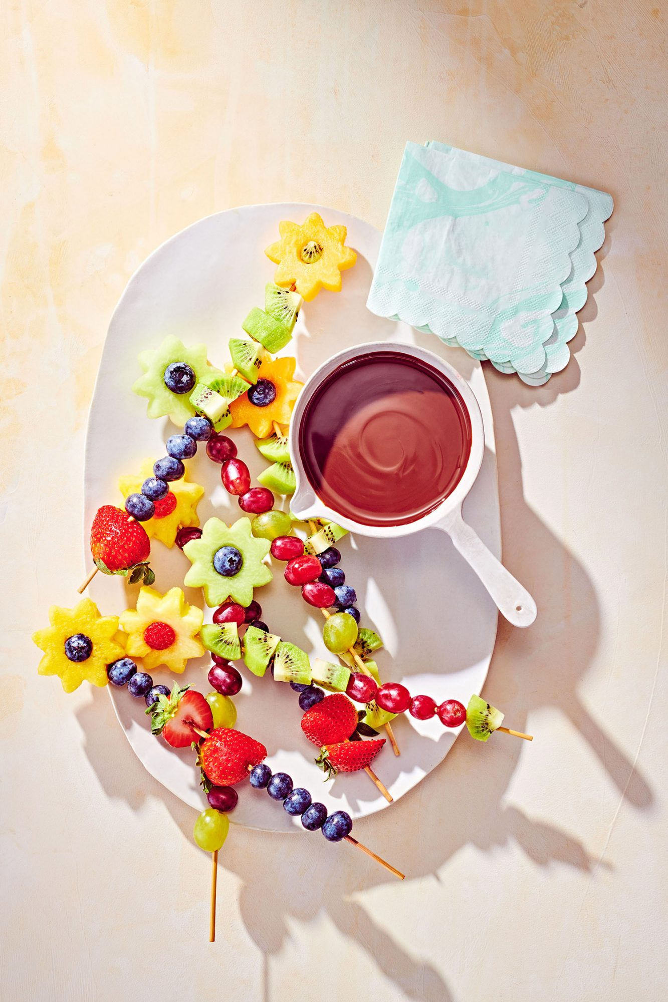 Dairy-Free Chocolate Fondue With Fruit Flowers
