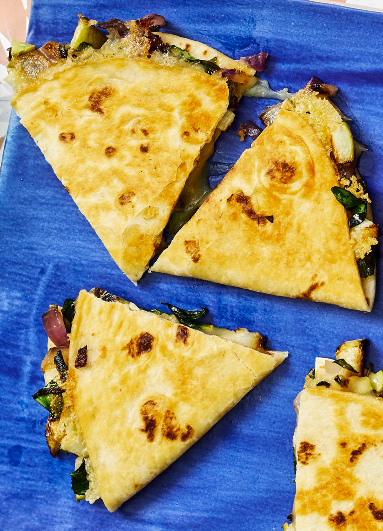 Grilled Chayote and Onion Quesadillas