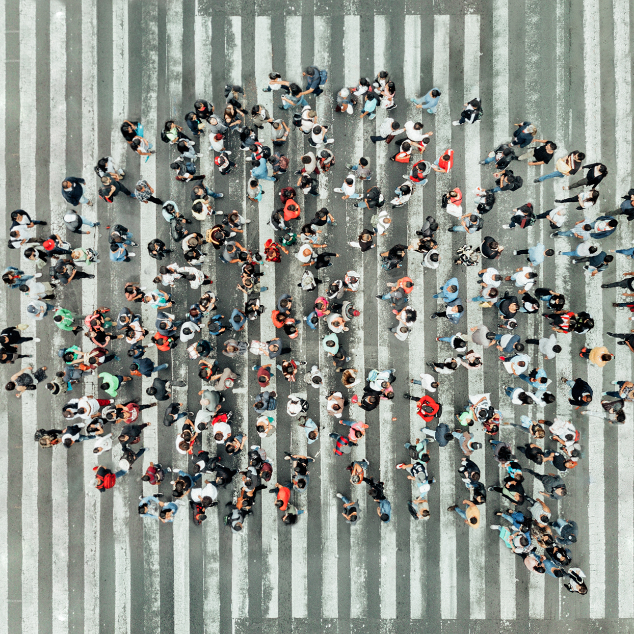 High Angle View Of People walking in street