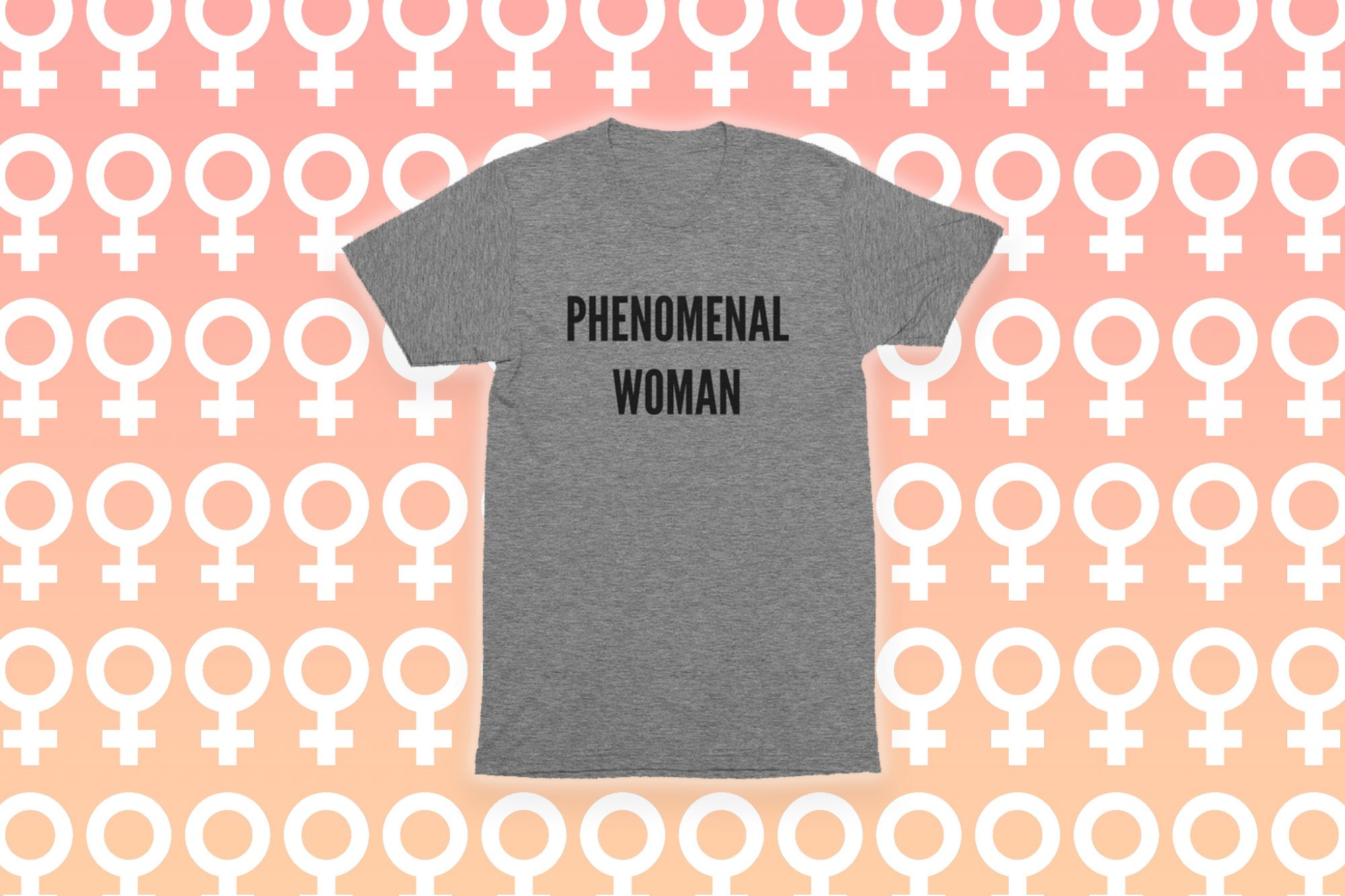 "gray ""phenomenal women"" tshirt on pink background with white symbol for women pattern"