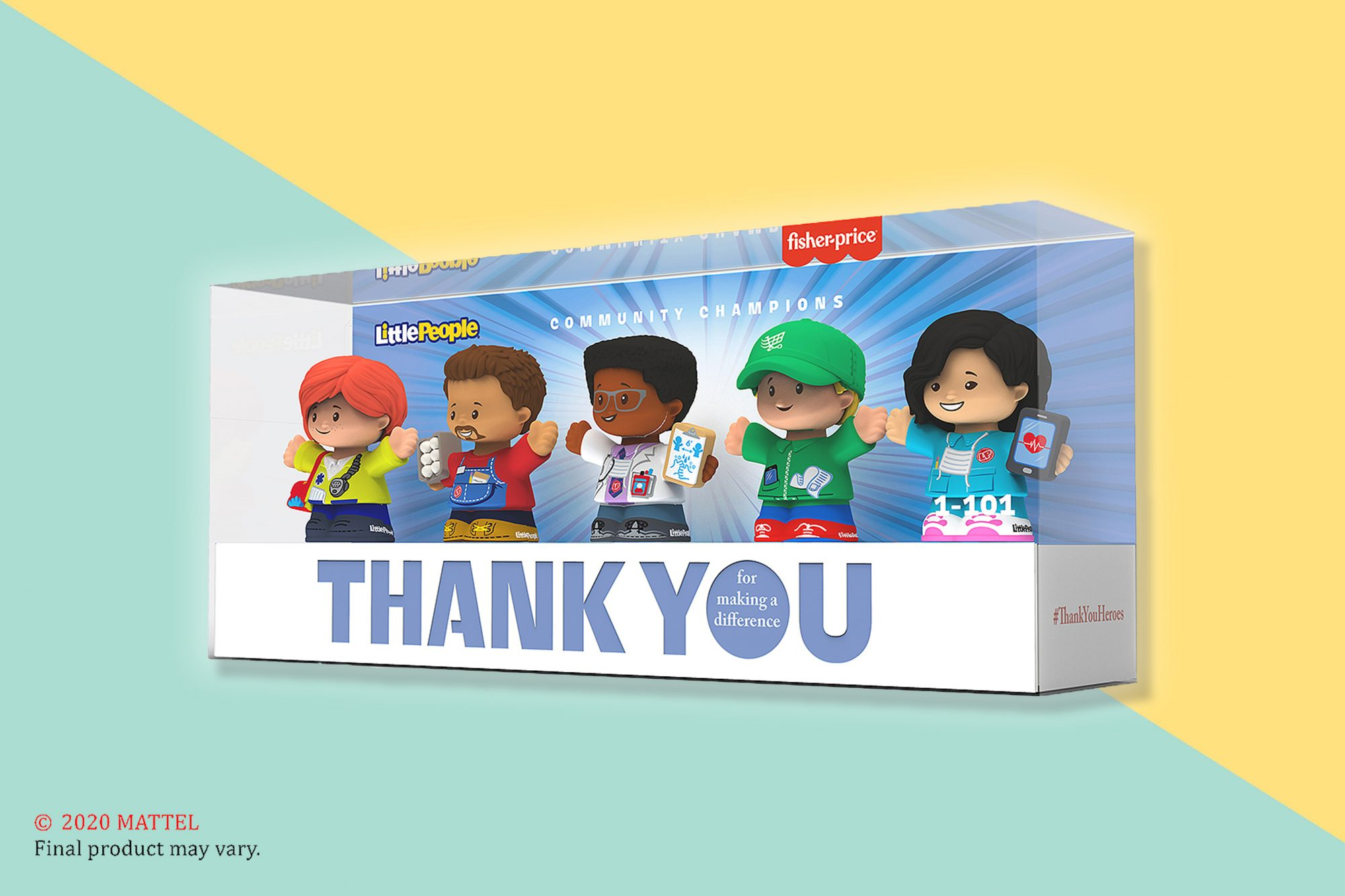 Little People toy set of an EMT, grocery store worker, doctor, delivery driver, and nurse
