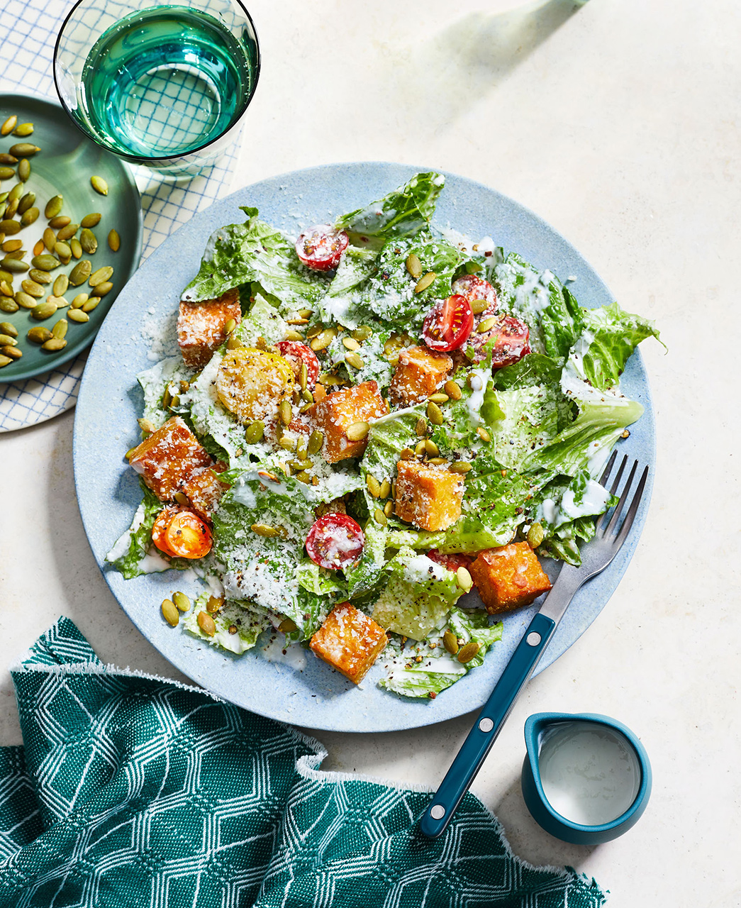 Caesar Salad With Tempeh Croutons