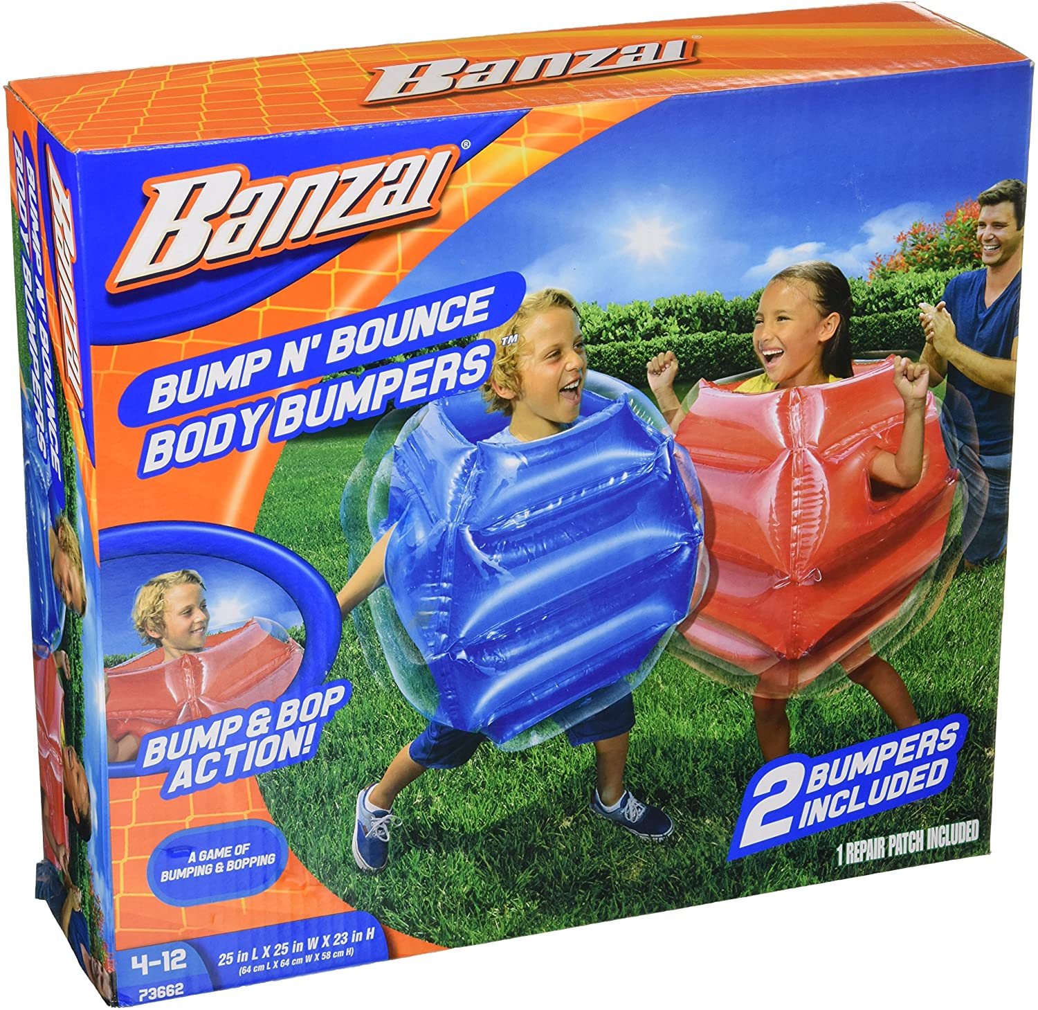Bring bumper cars right to your backyard! Simply replace the cars with these inflatable body bumper suits. The blow-up suits are super safe and durable (but a repair patch is included, just in case) and will give your kids hours of fun. This outdoor game may seem a little odd, but if you have rambunctious kiddos who love to run and bop around, these body bumpers can help them burn off that pent-up energy. (Amazon; $30)