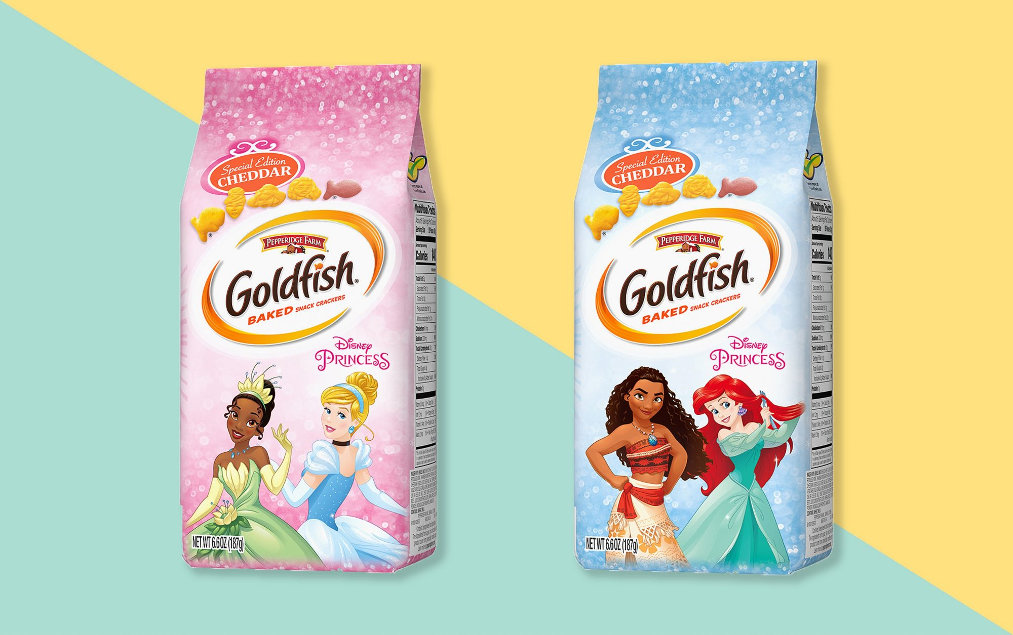 two bags of disney princess goldfish on patterned background