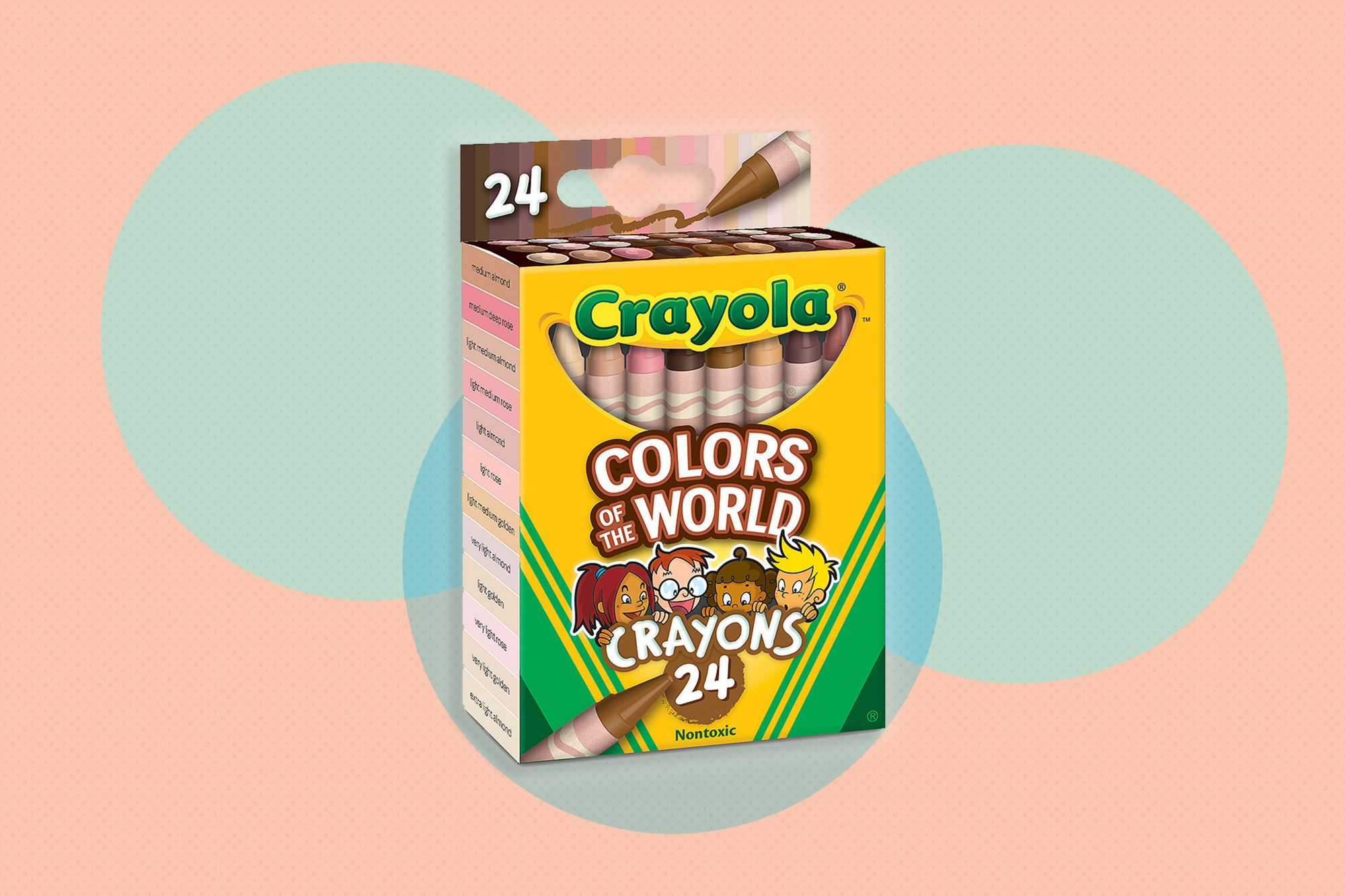 crayola colors of the world crayon box on patterned background