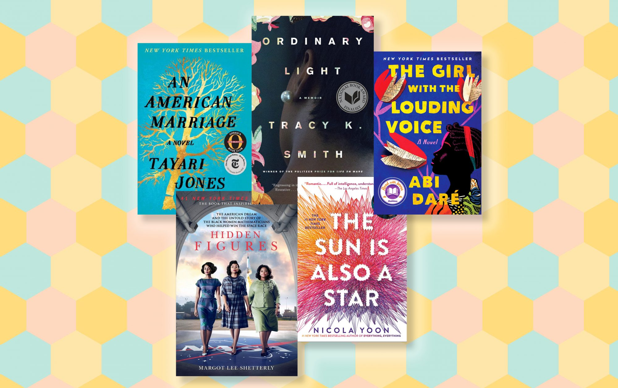 Books By Black Female Authors on Patterned Background