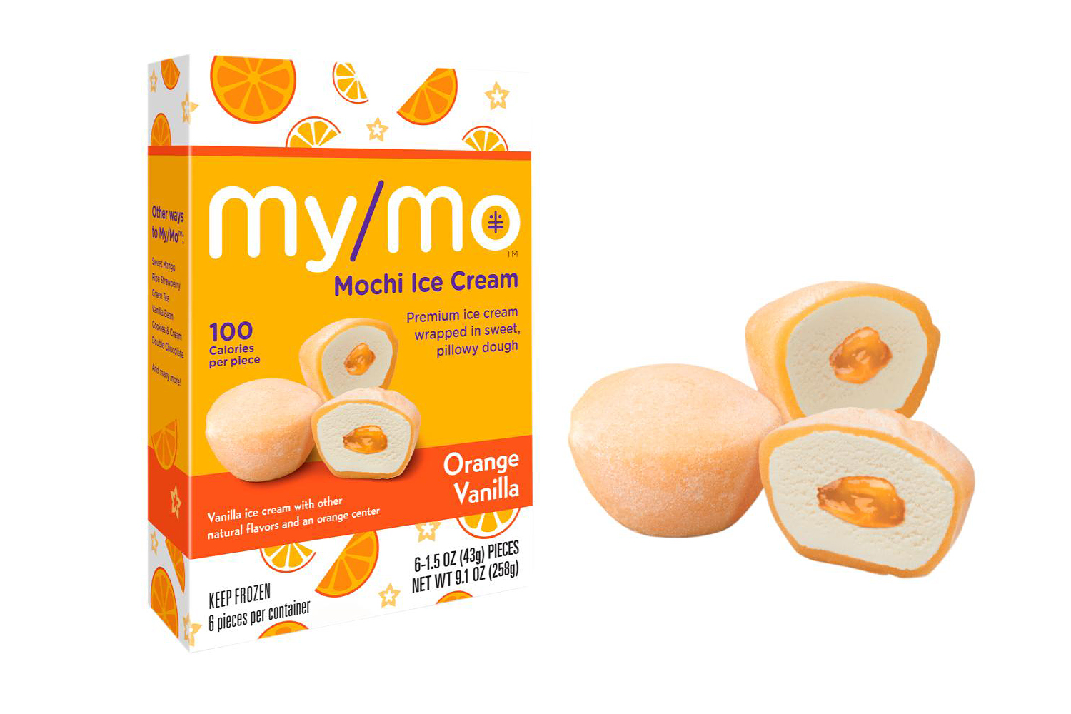 my/mo mochi ice cream orange vanilla