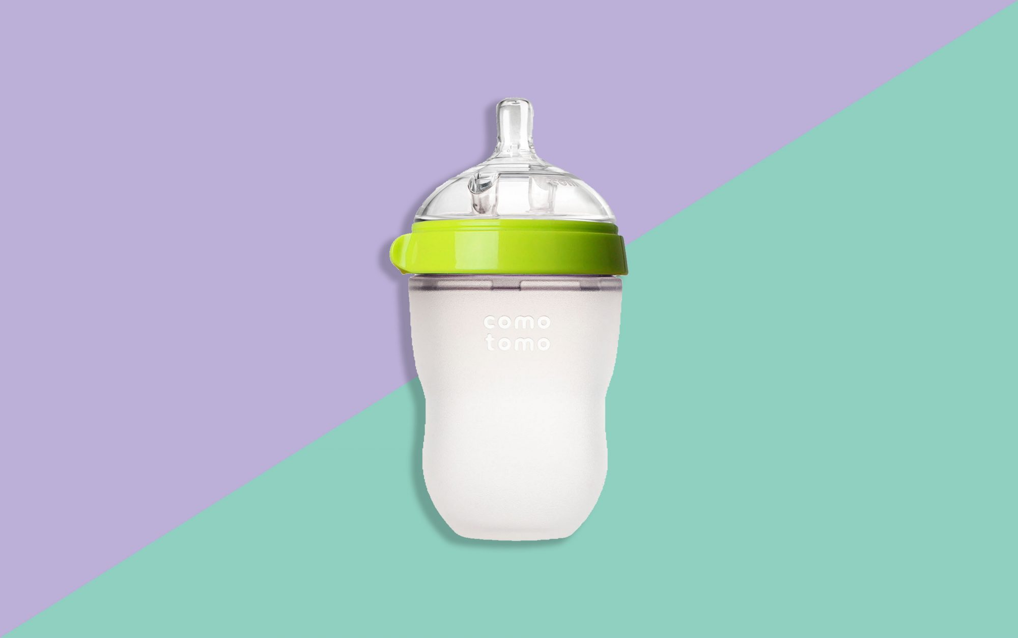 Comotomo Baby Bottle on Patterned Background