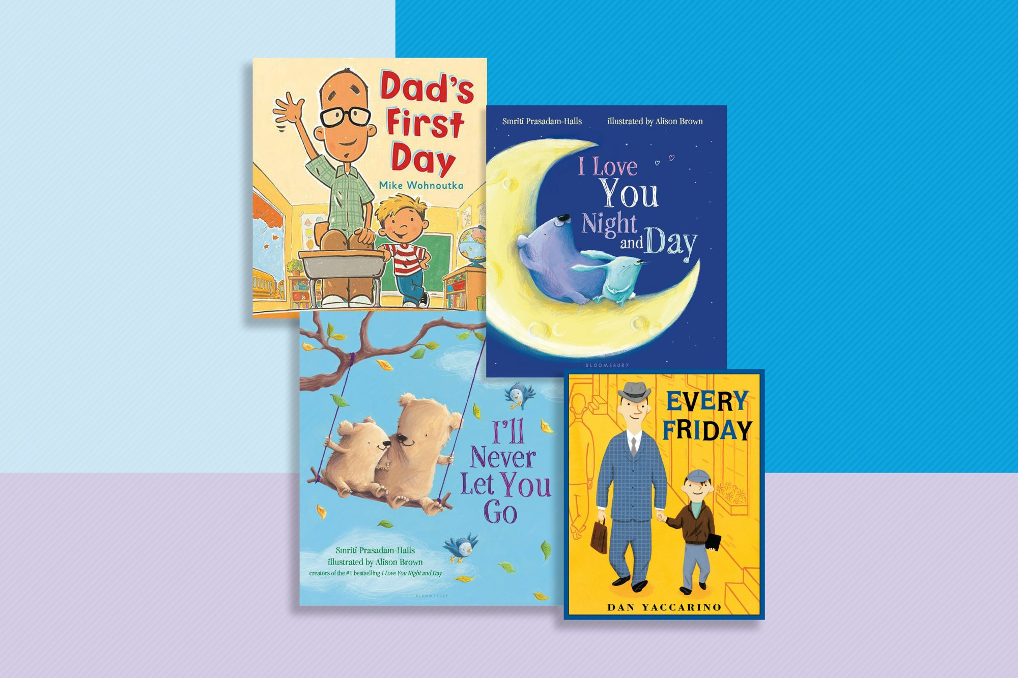 children's books for father's day on patterned background
