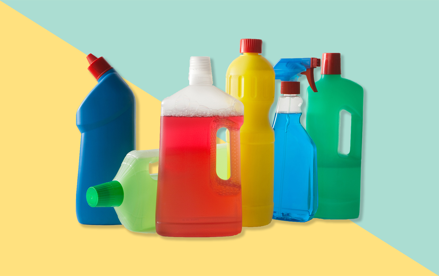 cleaning products on dual colored background