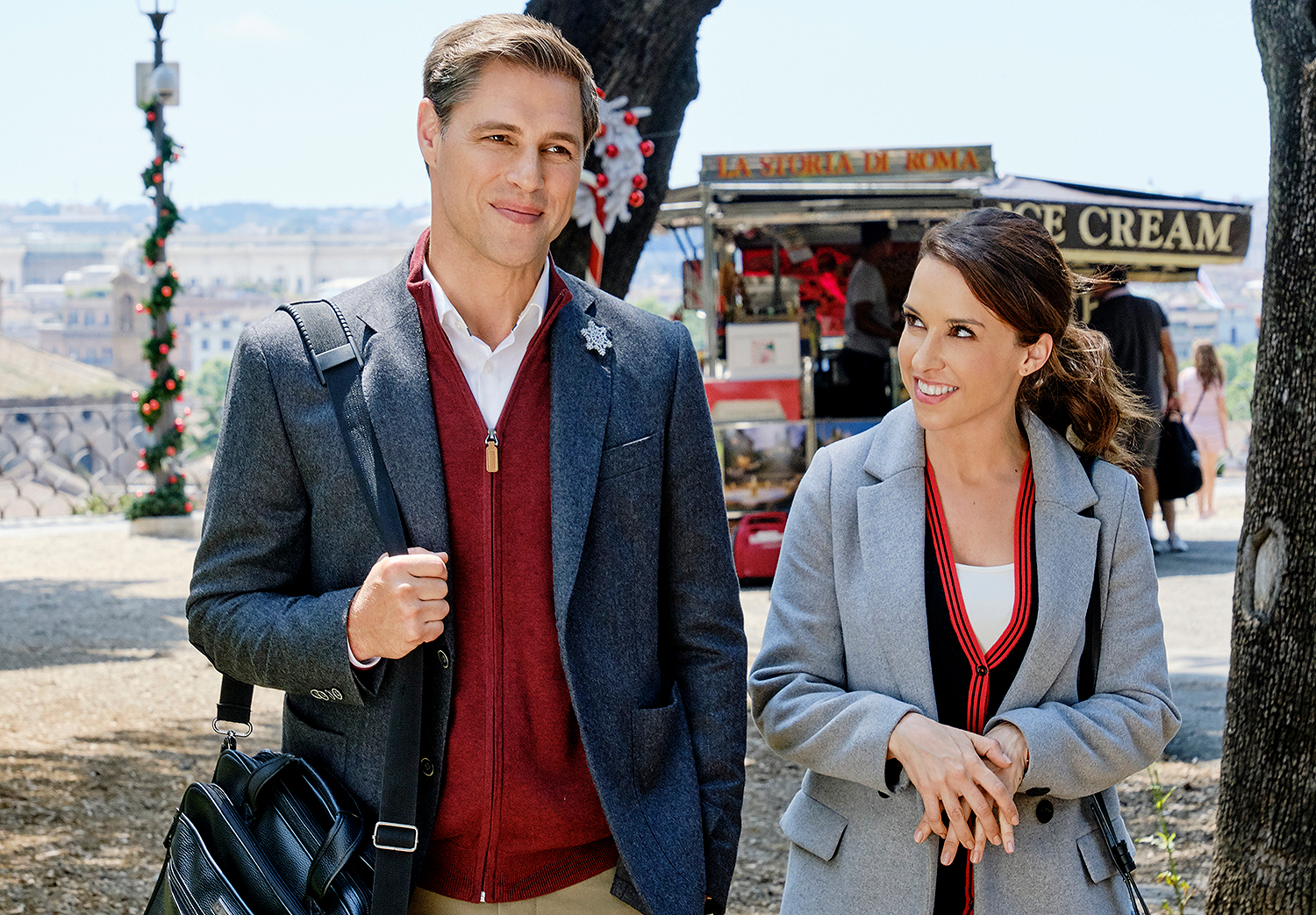 Sam Page, Lacey Chabert in Hallmark Movie CHRISTMAS IN ROME