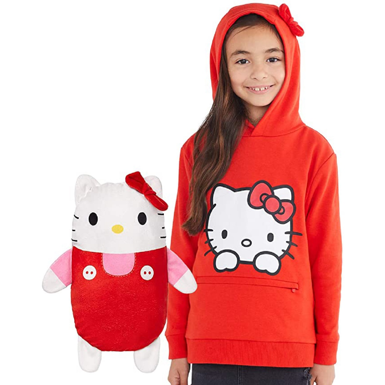 hello kitty red hoodie and stuffed animal