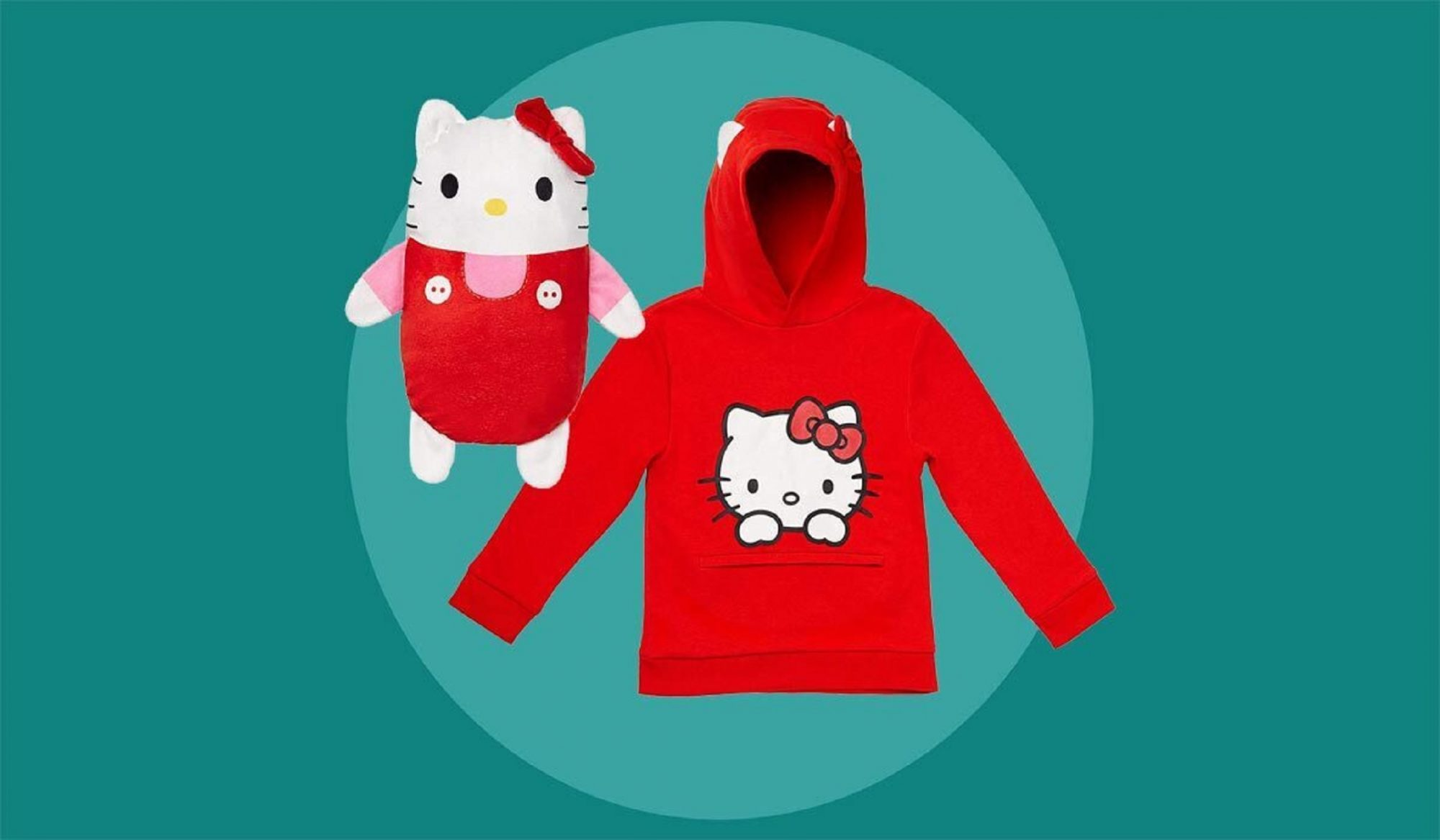 hello kitty stuffed animal and red hoodie