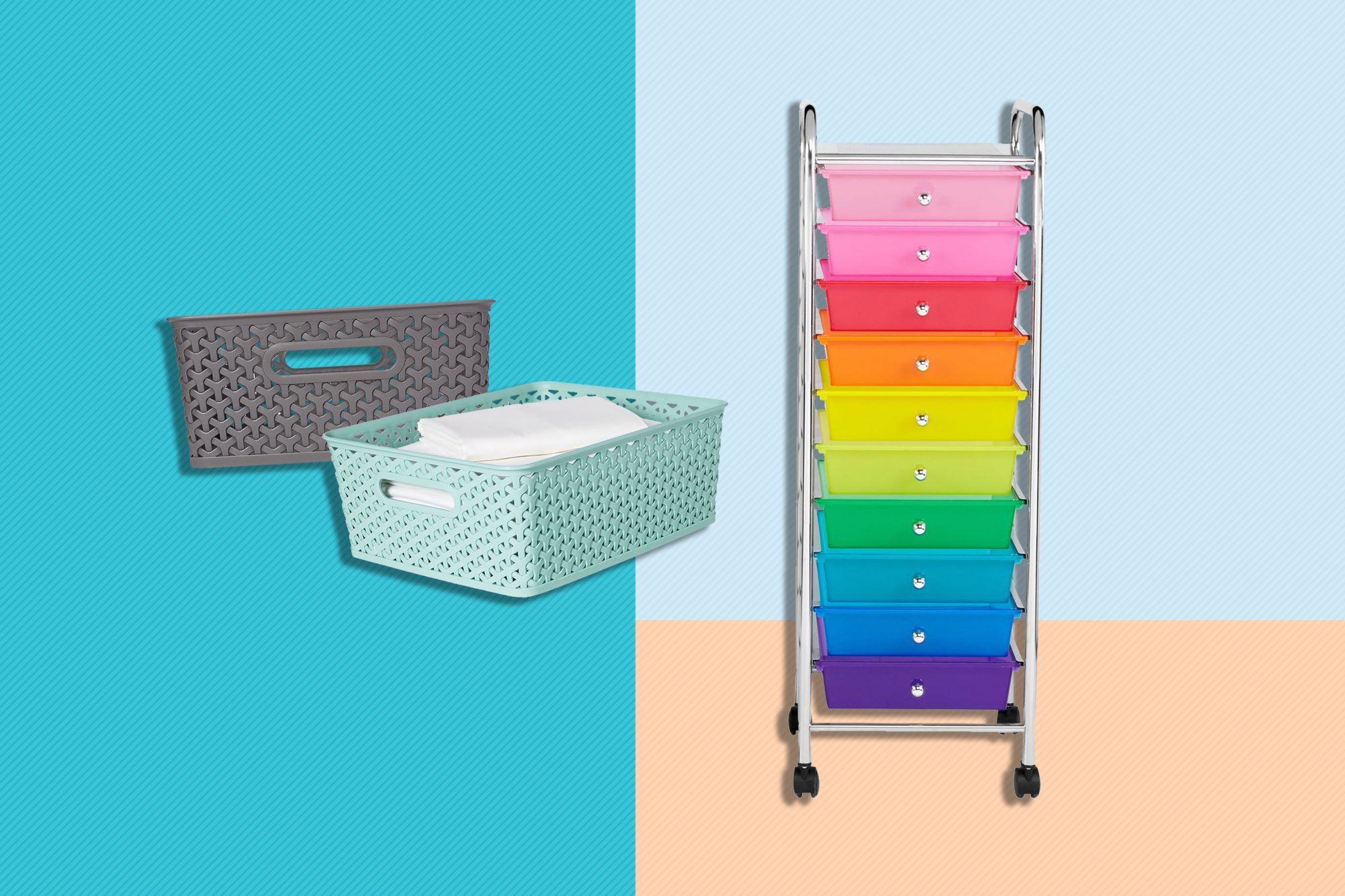 Target's Y-Weave Small Storage Bin, and Michael's 10 Drawer Rolling Cart