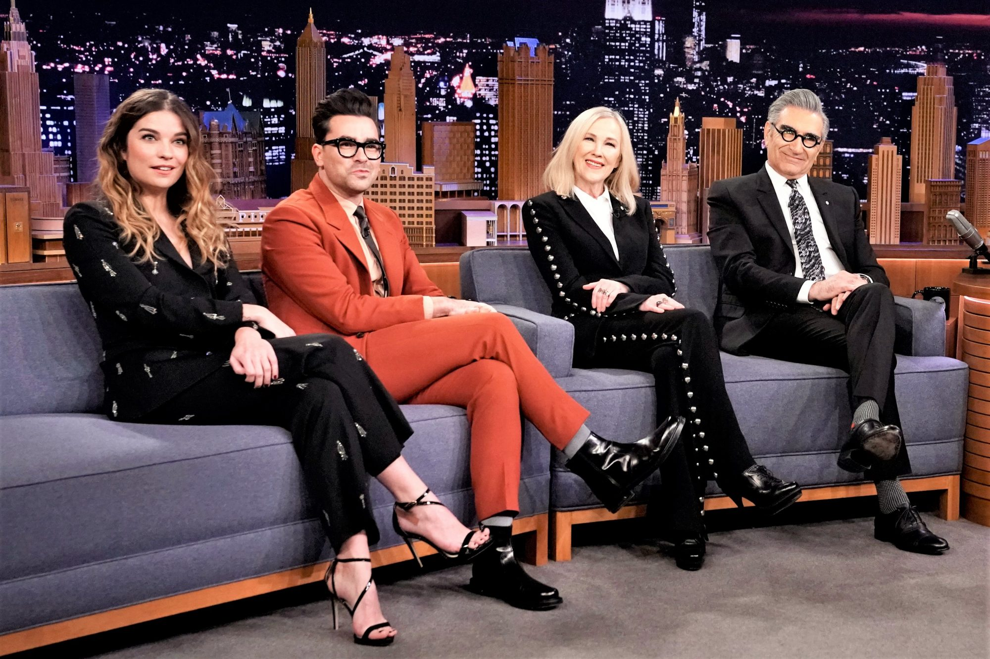 """Actors Annie Murphy, Dan Levy, Catherine O'Hara, and Eugene Levy of """"Schitt's Creek"""" during an interview"""