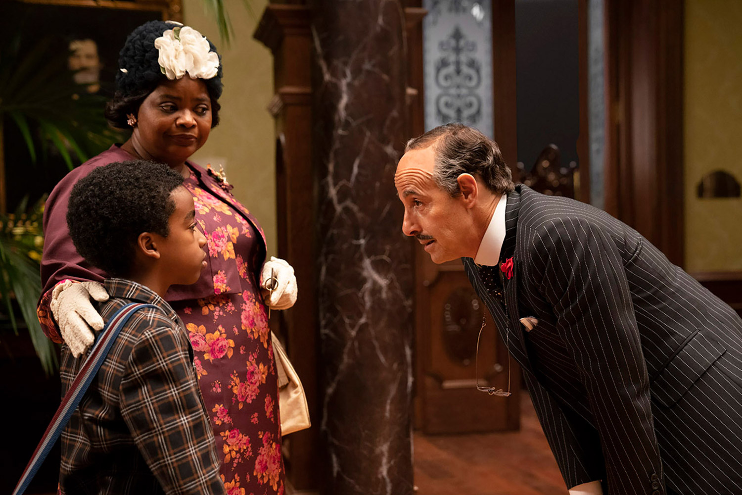 Jahzir Bruno, Stanley Tucci and Octavia Spencer in The Witches