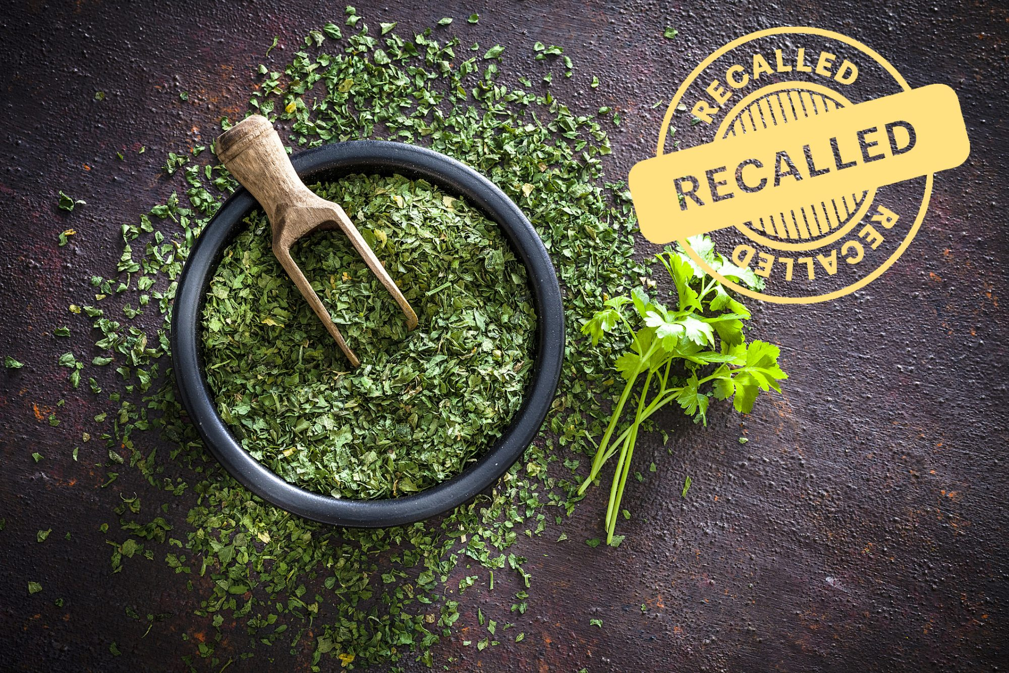 Dried parsley shot from above with recall stamp