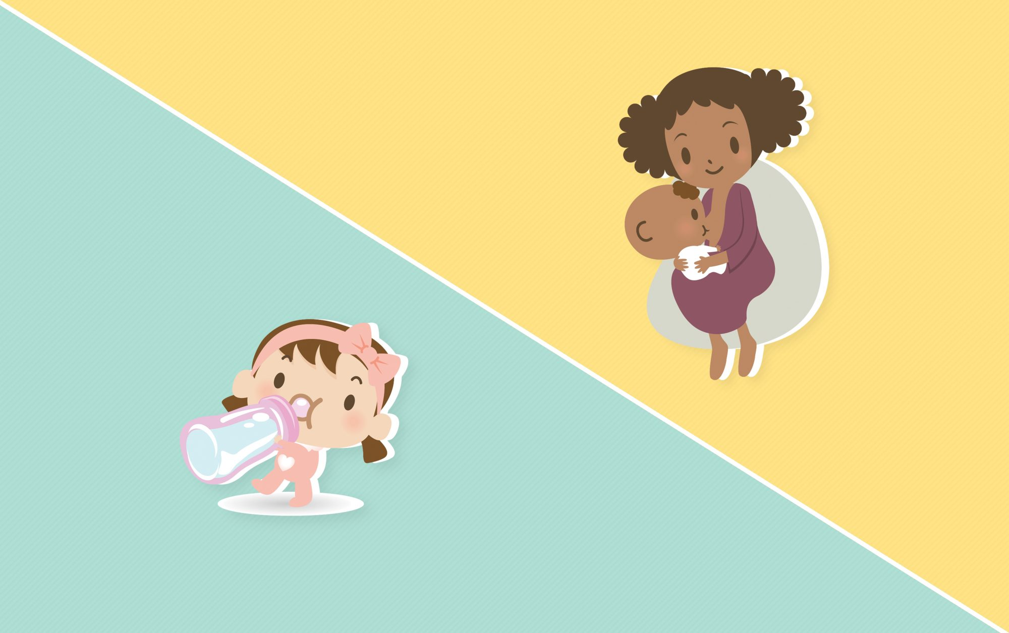 cartoon illustration of baby drinking milk from bottle and mother breastfeeding child on a colored background