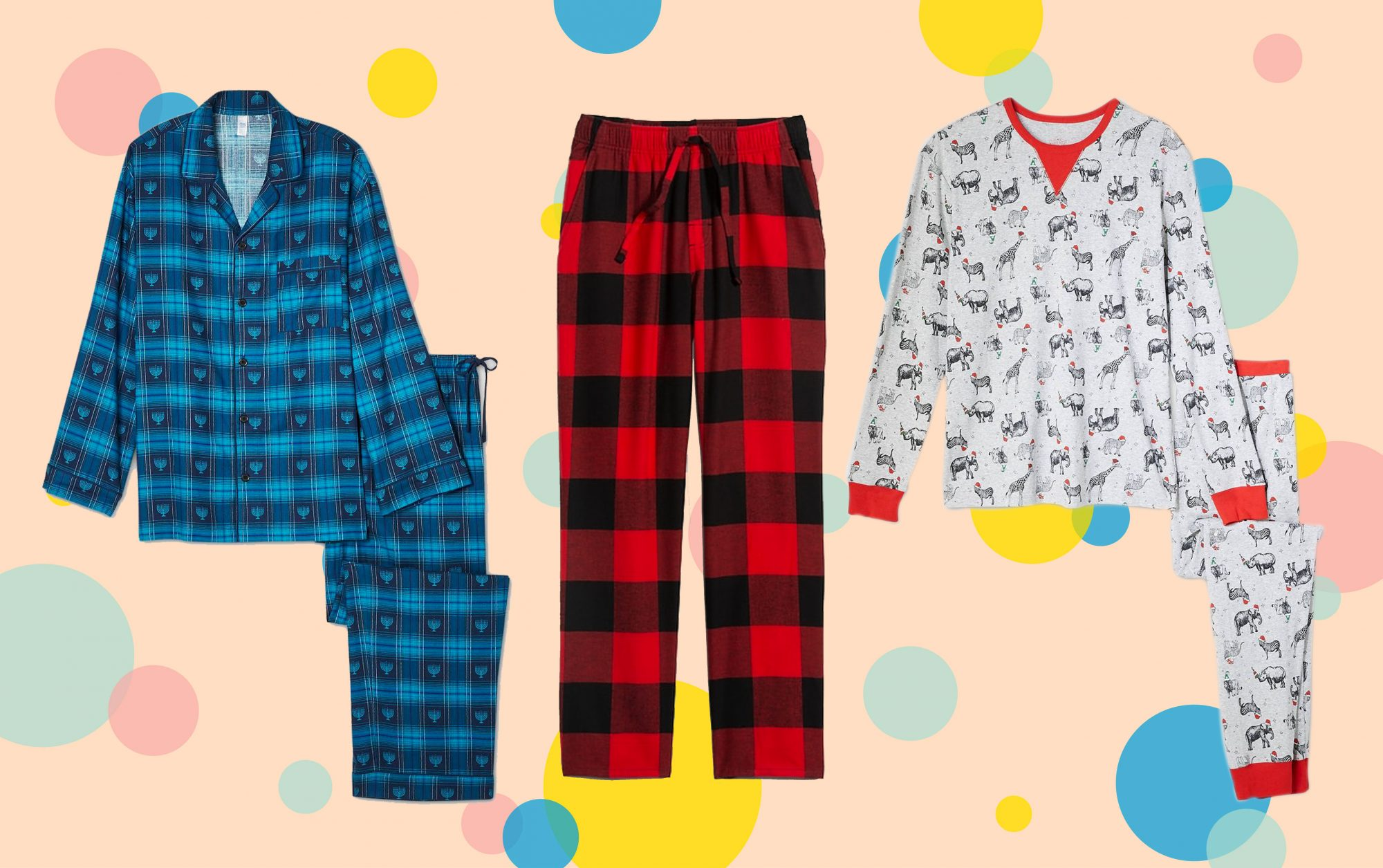 plaid flannel hanukkah christmas pajamas