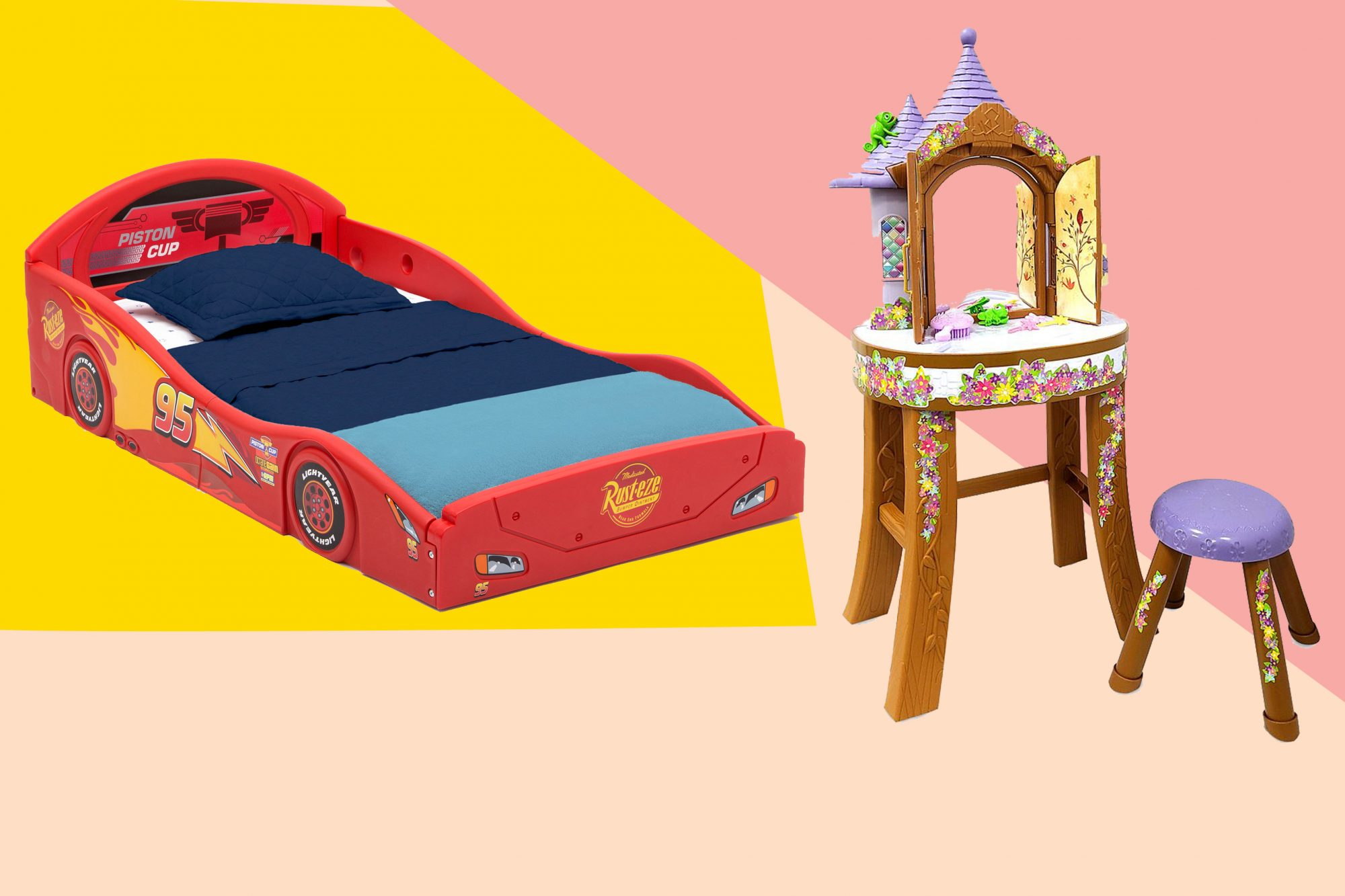 Disney Pixar Cars Lightning McQueen Bed, Rapunzel Vanity Tower Play Set