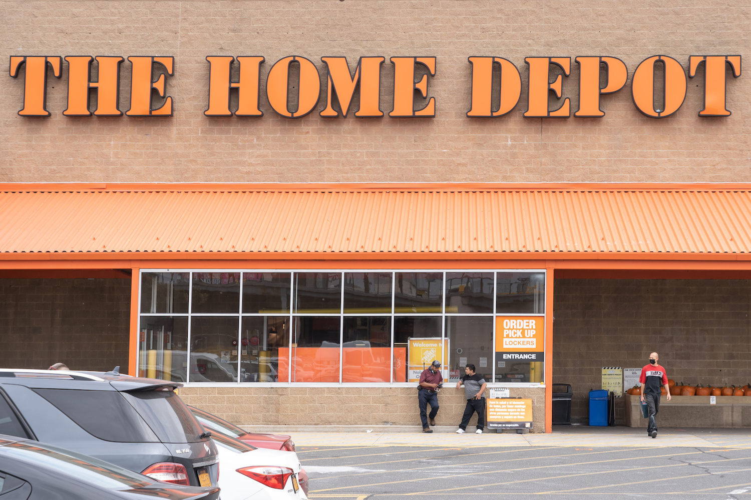 The Home Depot logo and store seen in Queens Borough of New
