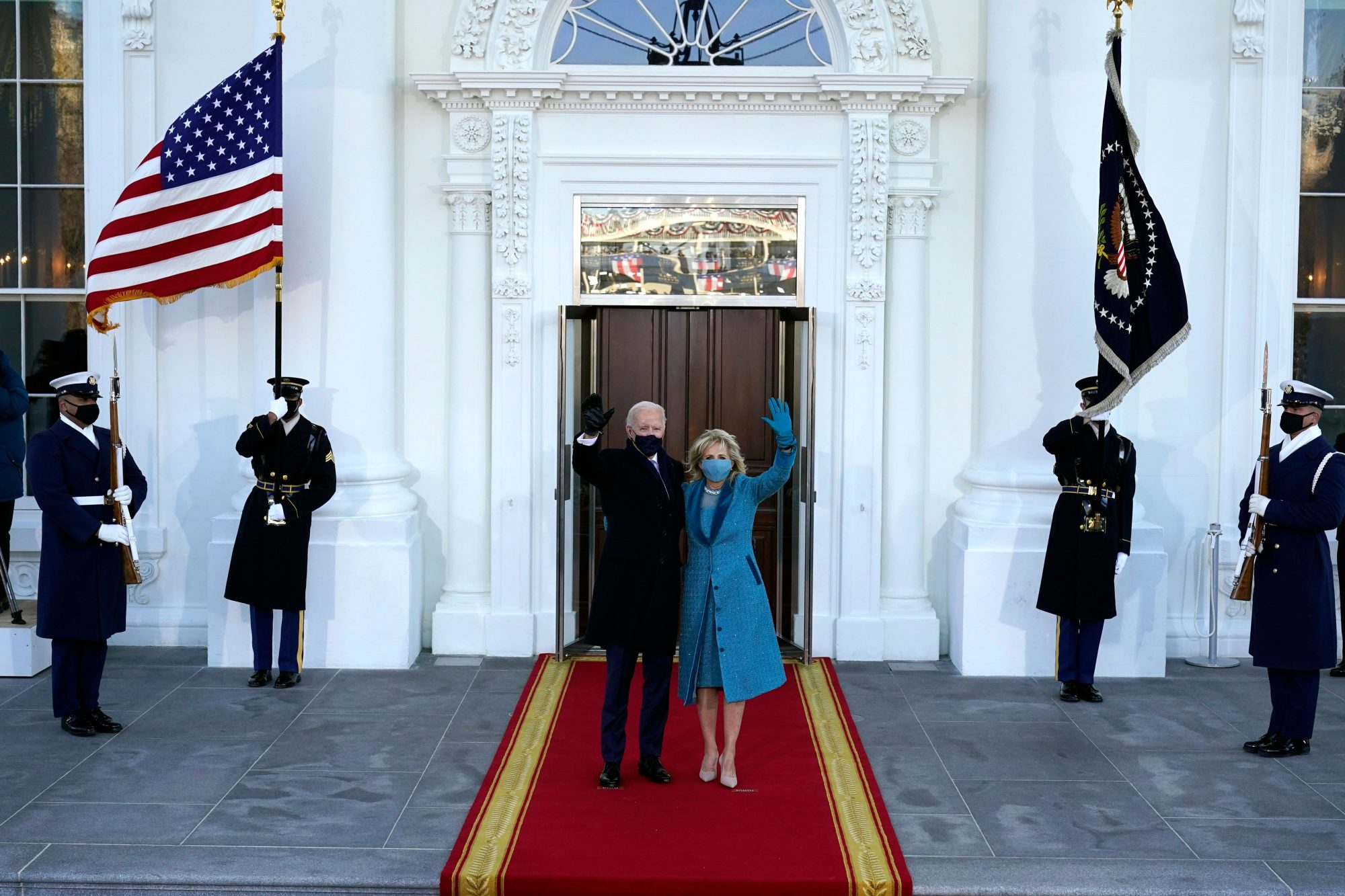 An images of President Joe Biden and First Lady Jill Biden at the 2021 inauguration.