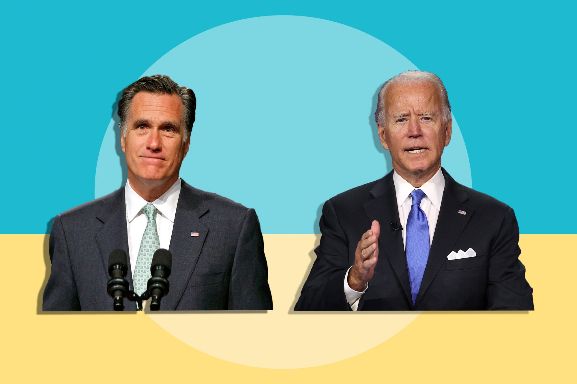 An image of Mitt Romney and Joe Biden on a colored background.