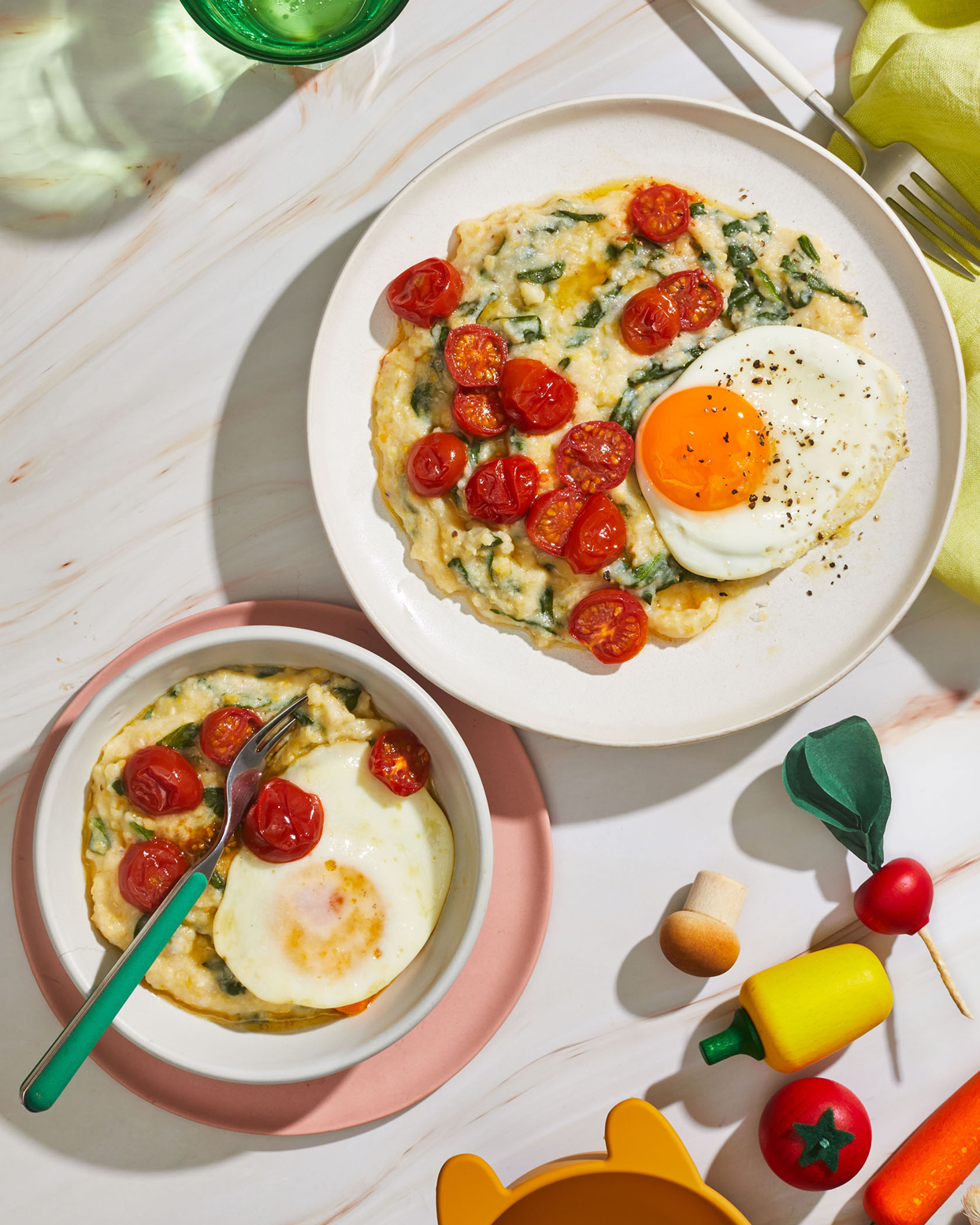 Spinach Polenta With Eggs