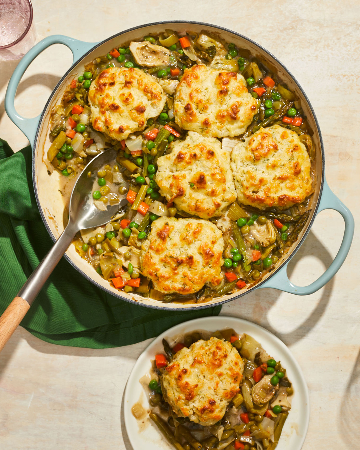 Spring Vegetable Pie With Dill Biscuits