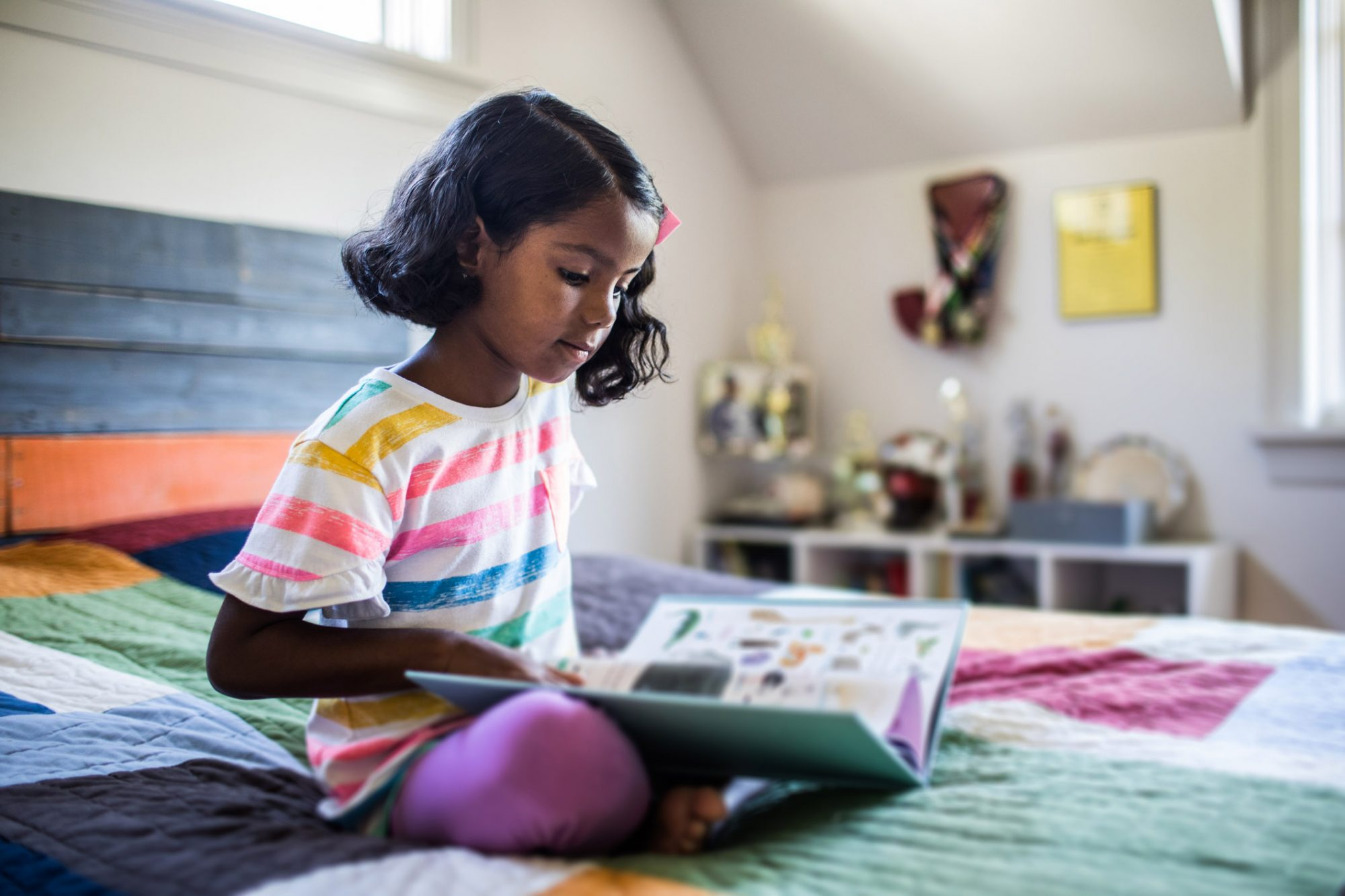 An image of a girl reading a book on her bed.