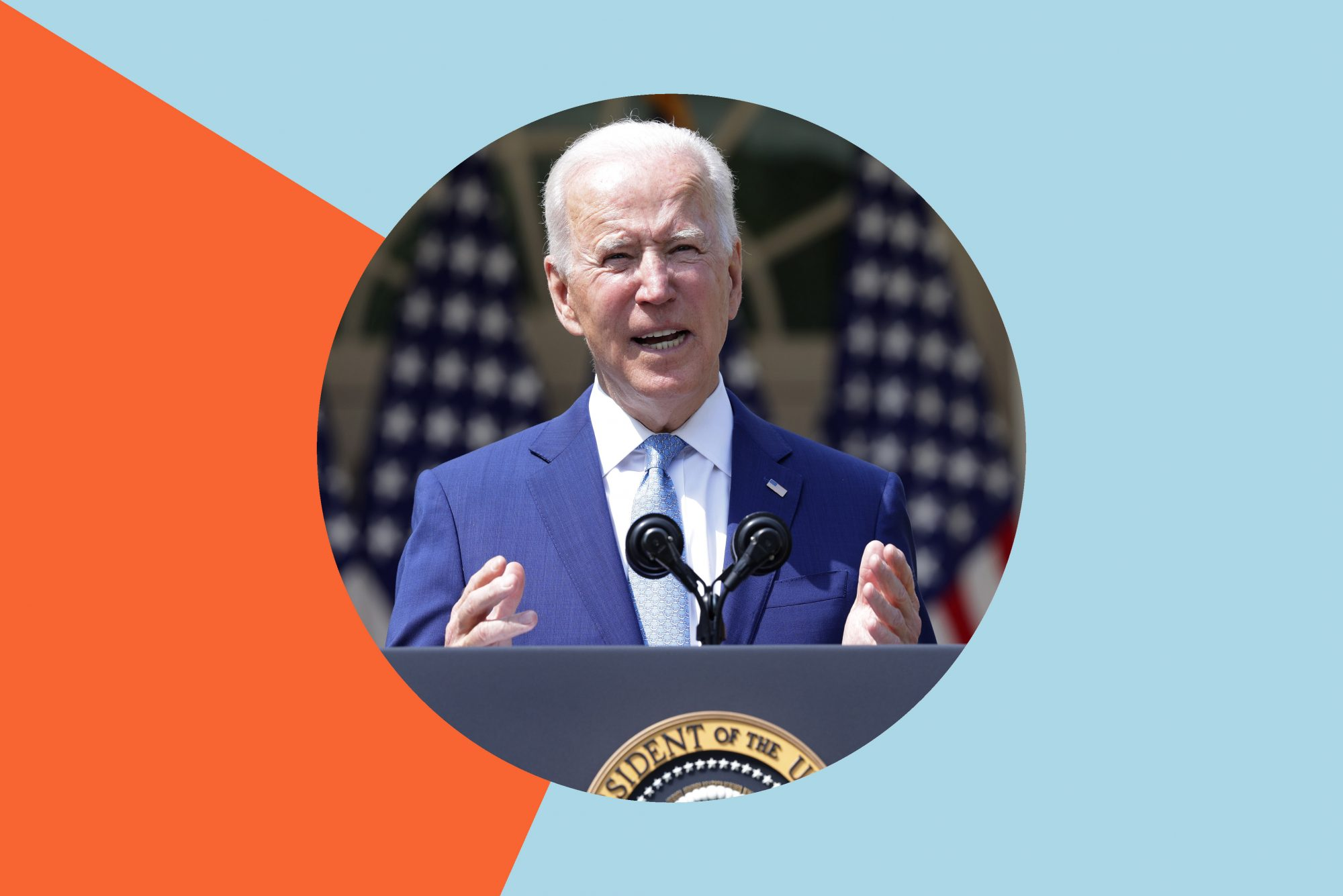 An image of Joe Biden on a colorful background.