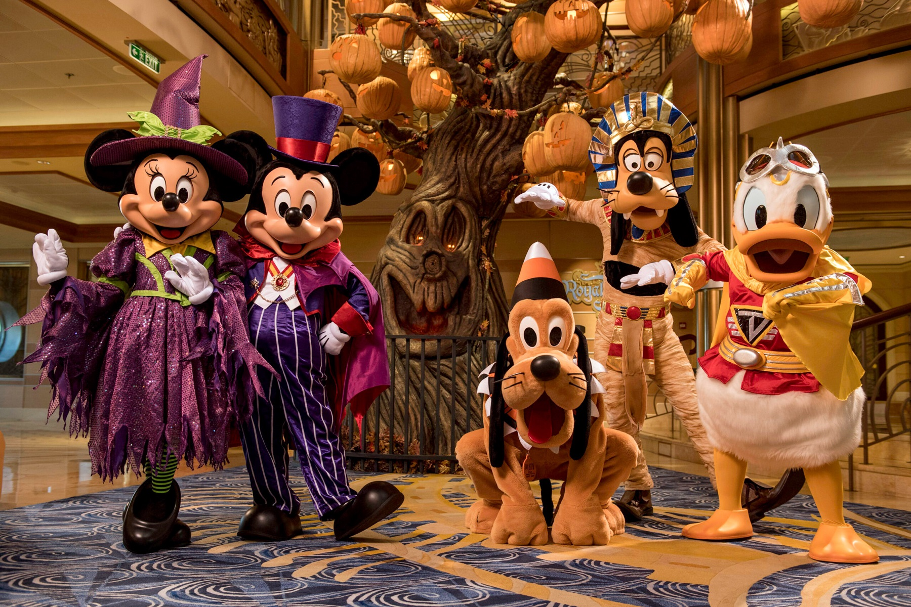 disney cruise mickey and minnie mouse, goofy, pluto, and donald duck halloween