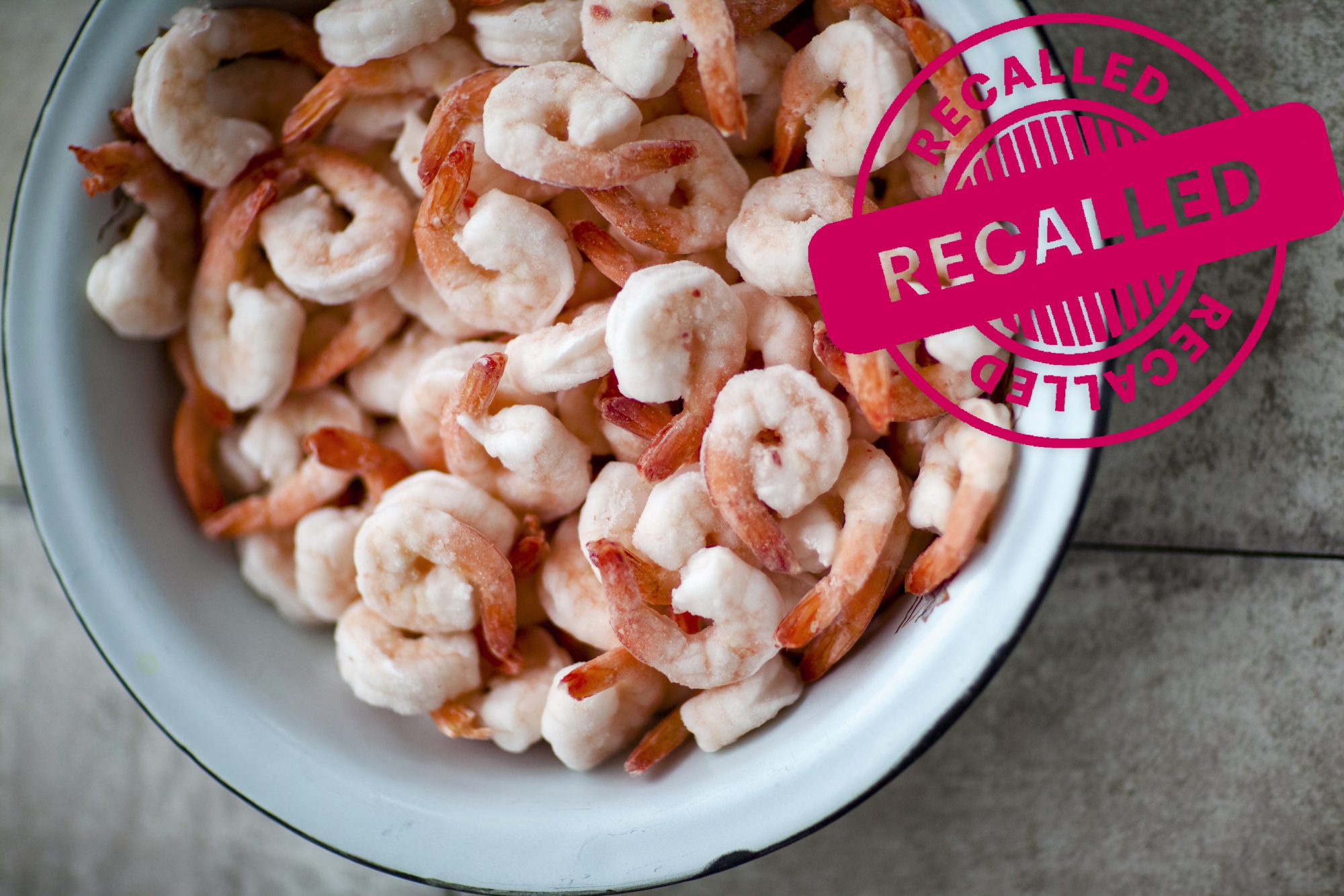 frozen shrimp in a bowl; recall stamp overlay