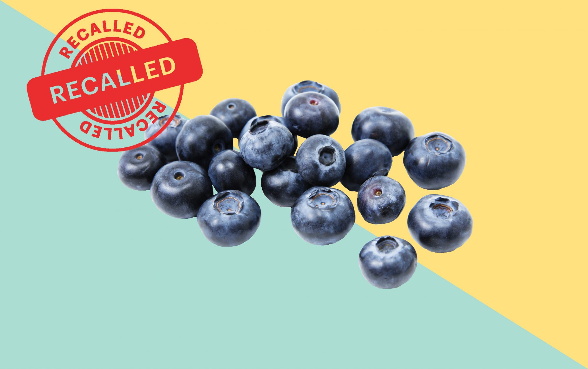 blueberries on colored background with recall stamp