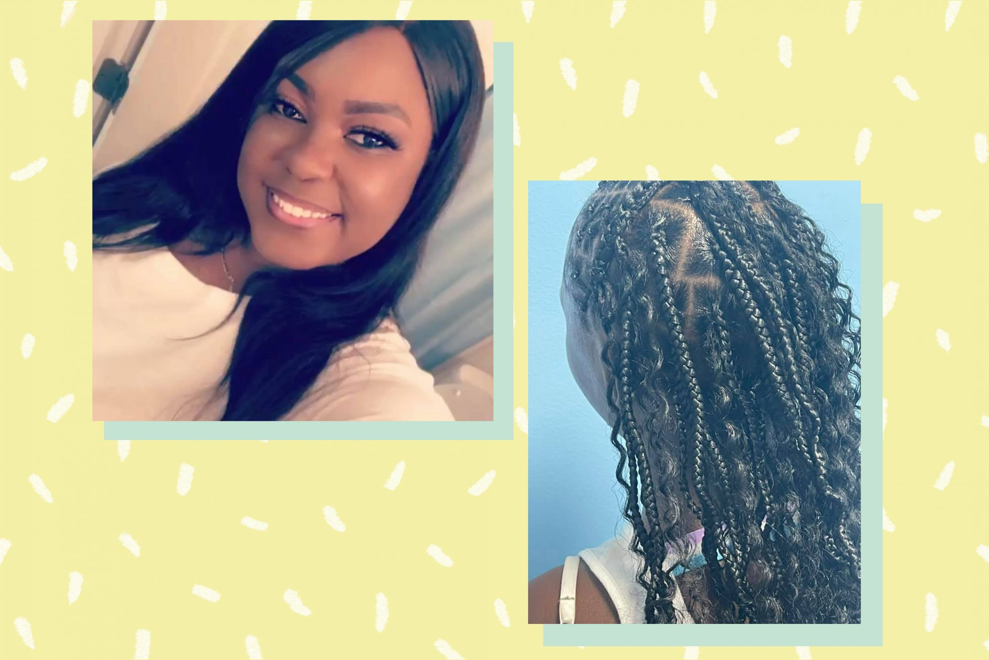 An image of Brittany Starks and her daughter's hair that she has braided.