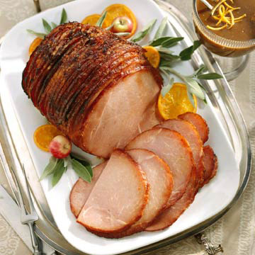Baked Holiday Spiral Ham with Raisin Sauce