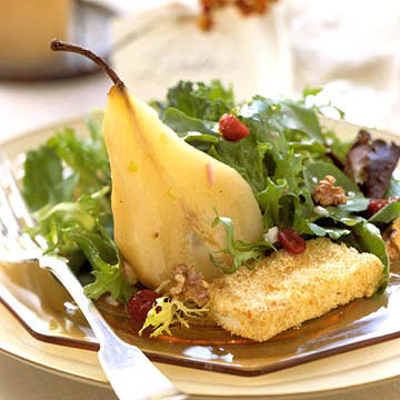 Champagne-Poached Pear Salad